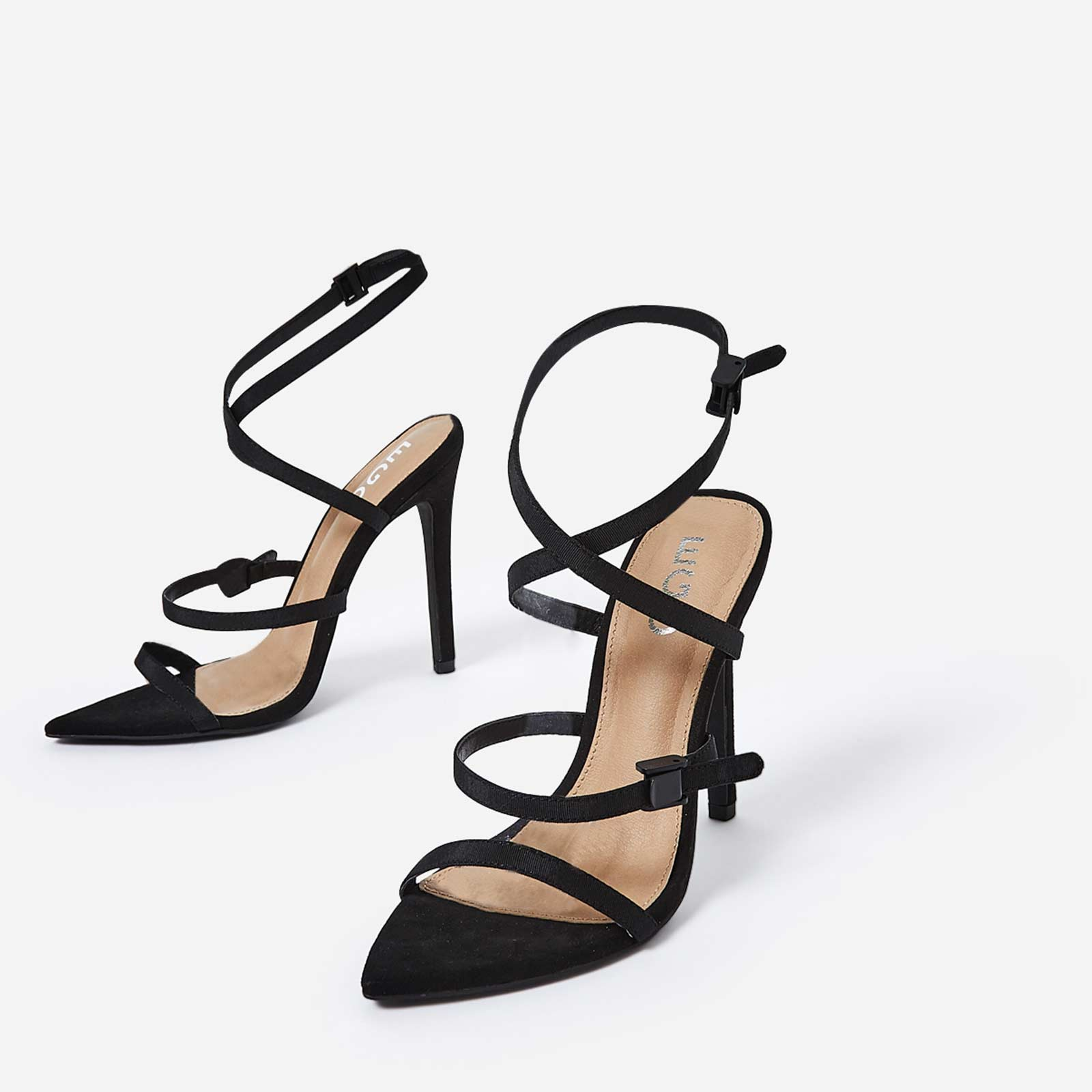 Hana Strappy Heel In Black Faux Suede