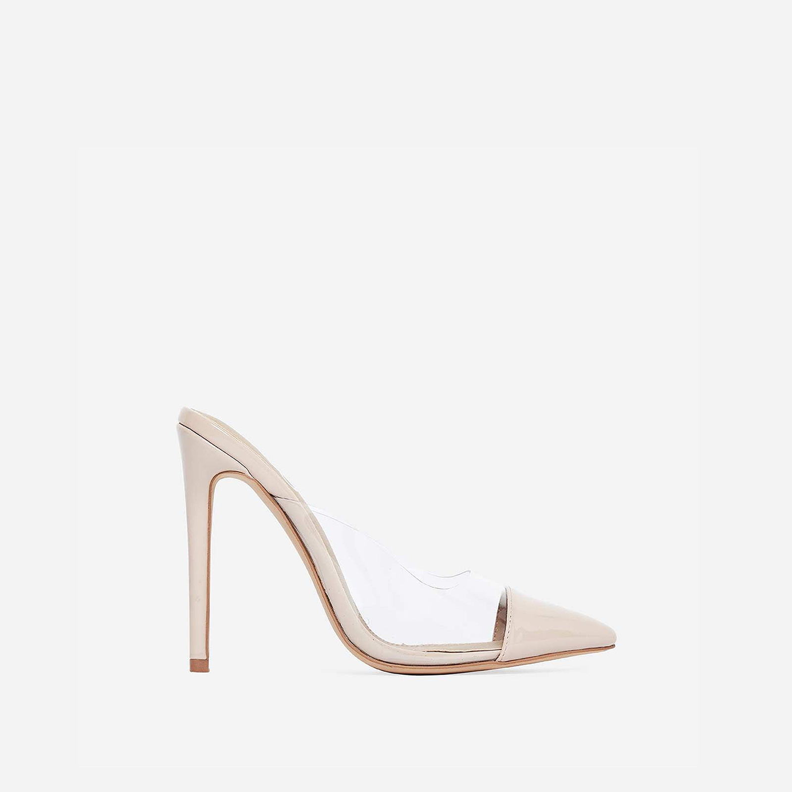 Korra Closed Pointed Toe Perspex Mule In Nude Patent