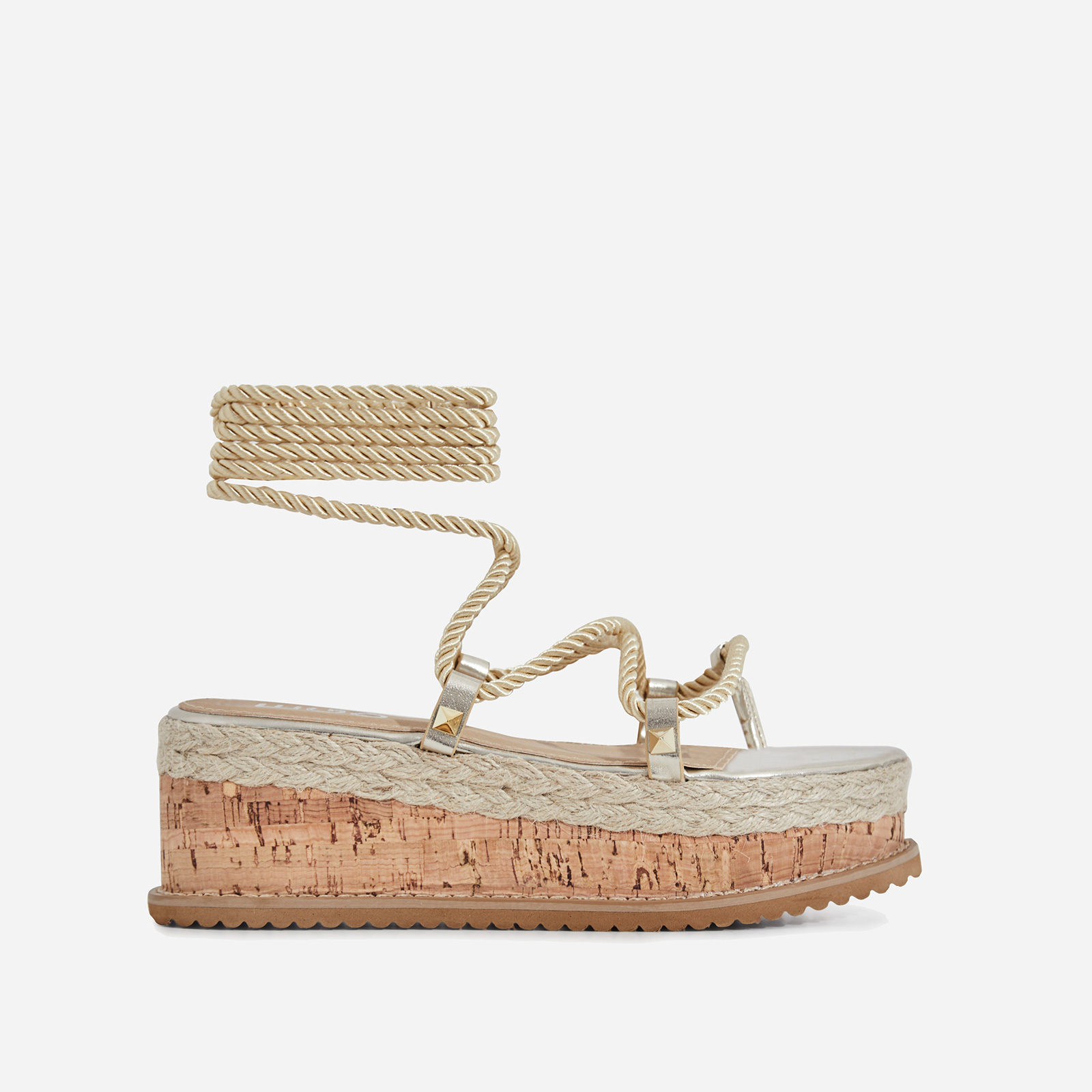 India Studded Detail Espadrille Flatform In Gold Rope