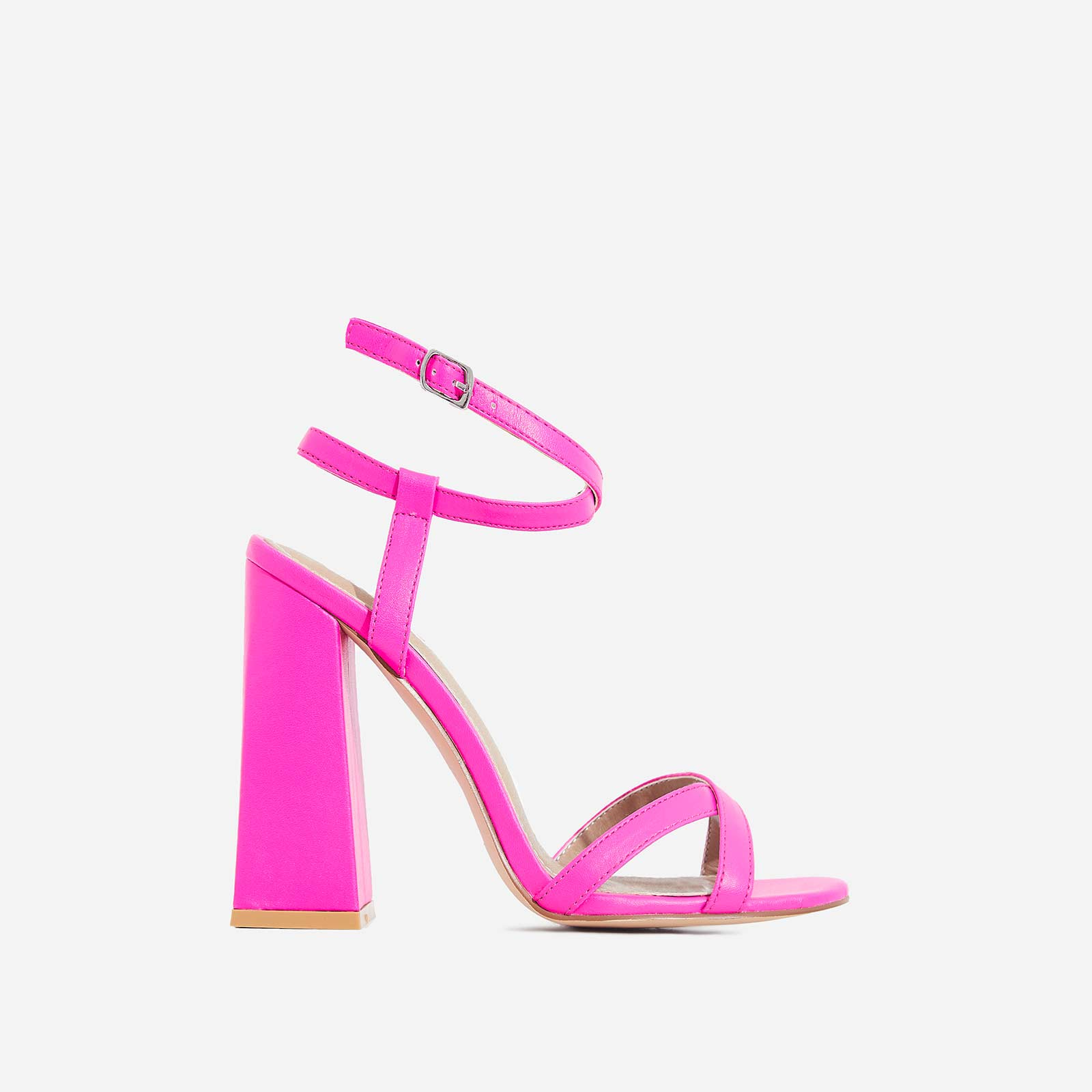 Iris Flared Block Heel In Neon Pink Faux Leather