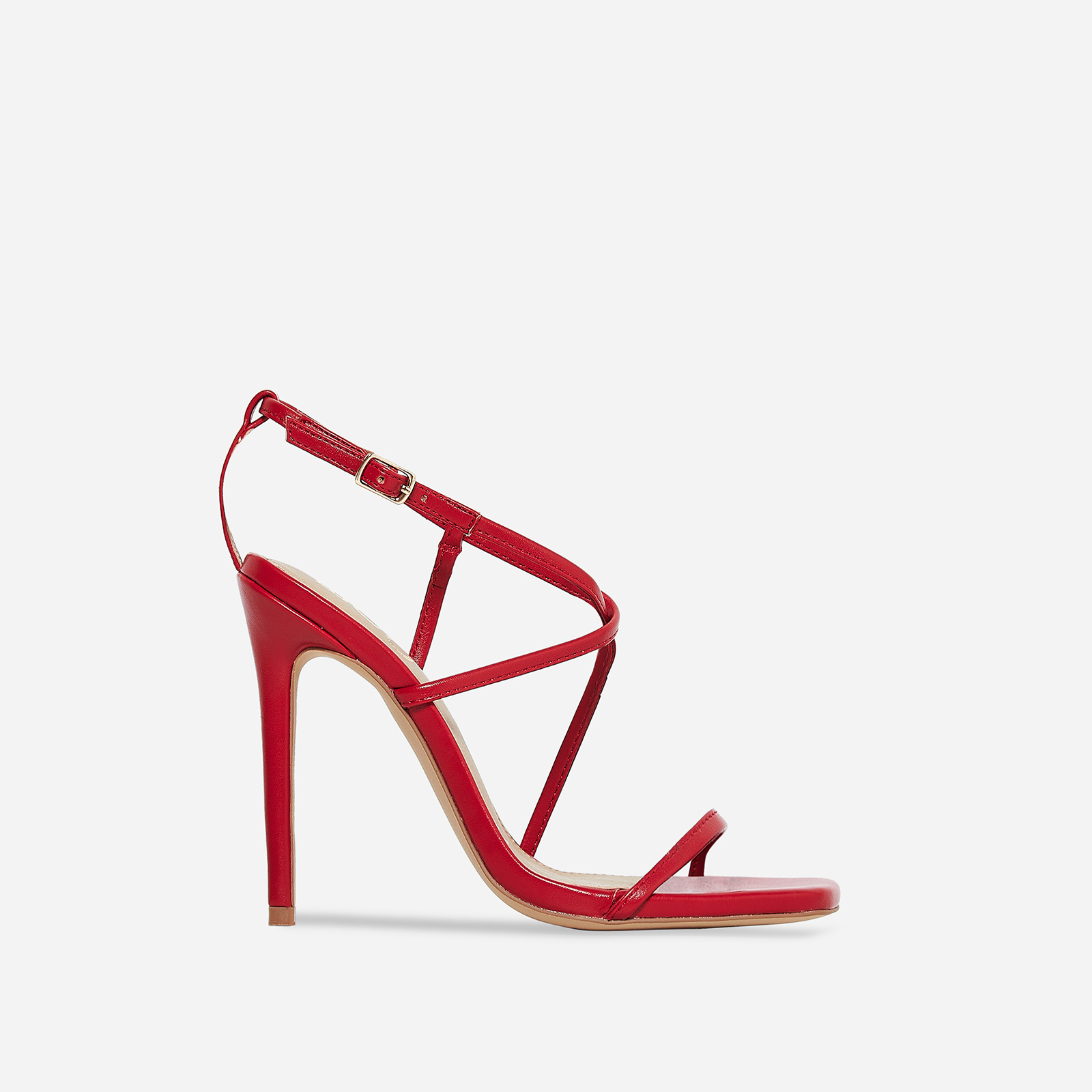Isabelle Strappy Heel In Red Faux Leather