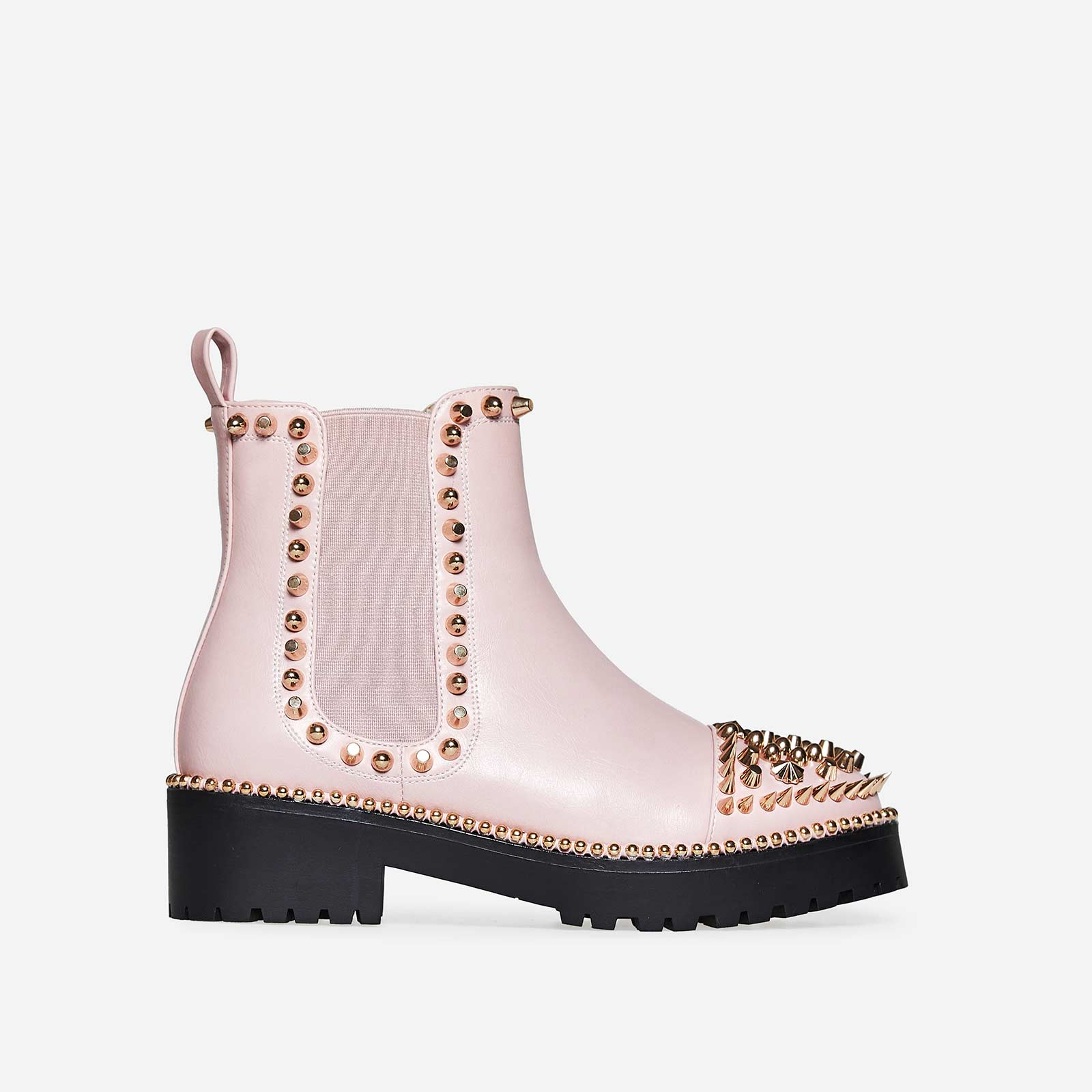 Jack Gold Studded Detail Biker Boot In Pink Faux Leather