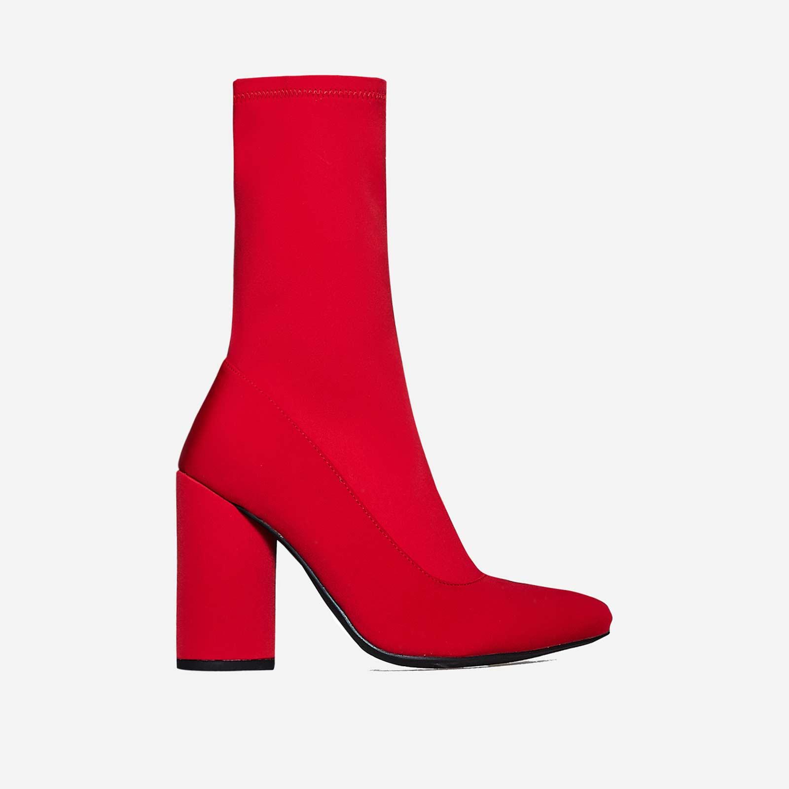 Jameson Block Heel Sock Boot In Red Lycra