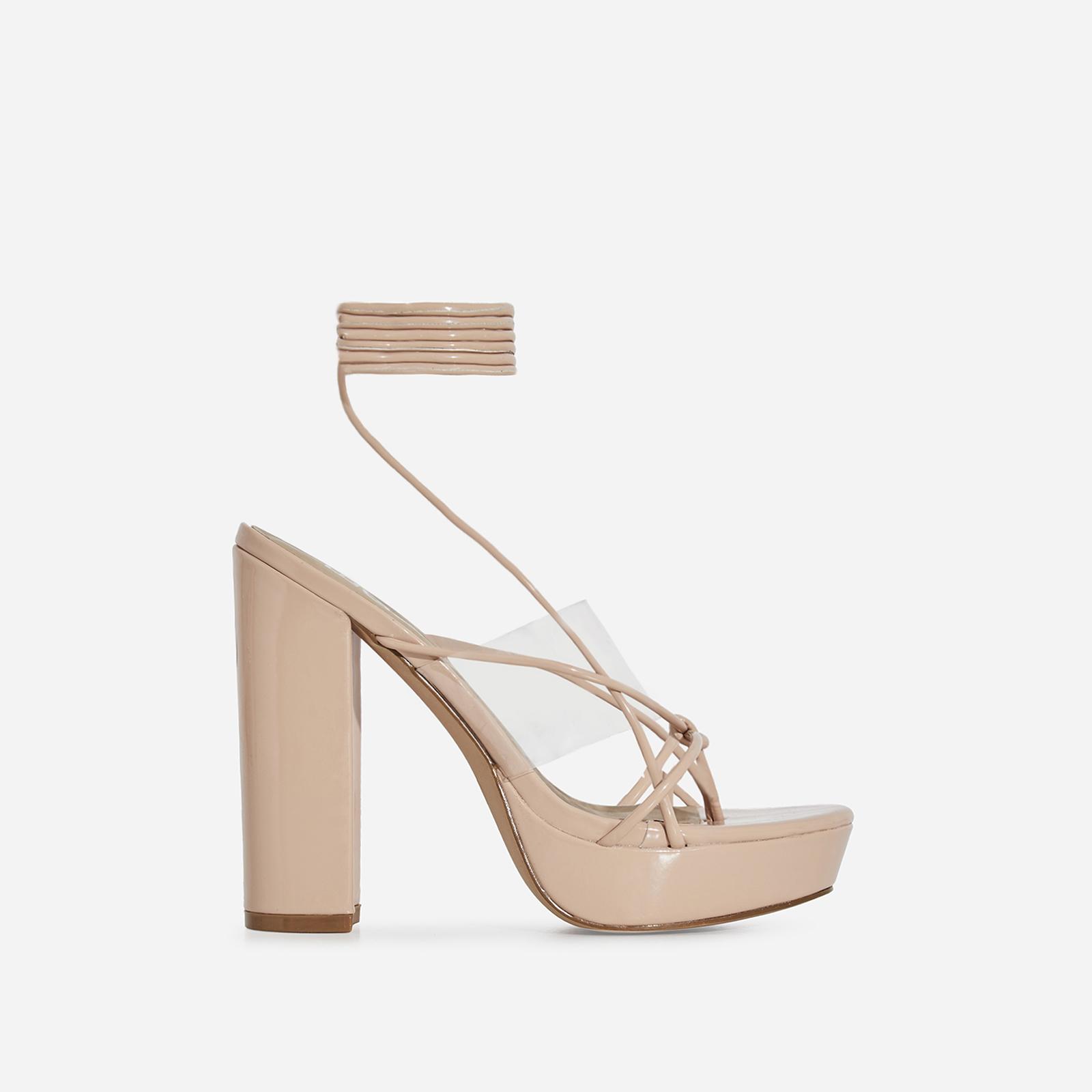 Jamie Lace Up Perspex Platform Heel In Nude Patent