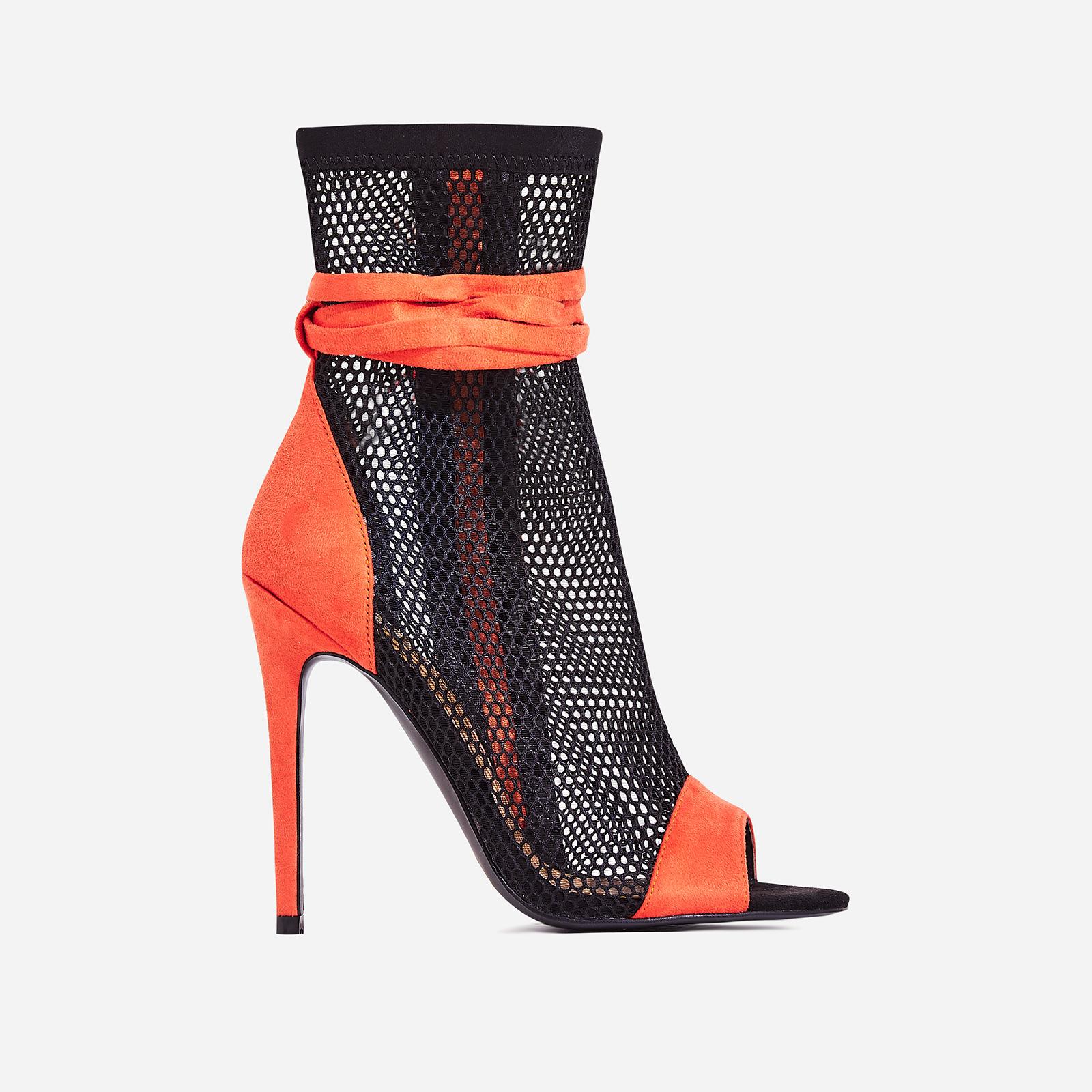 Jax Lace Up Mesh Peep Toe Heel In Orange Faux Suede
