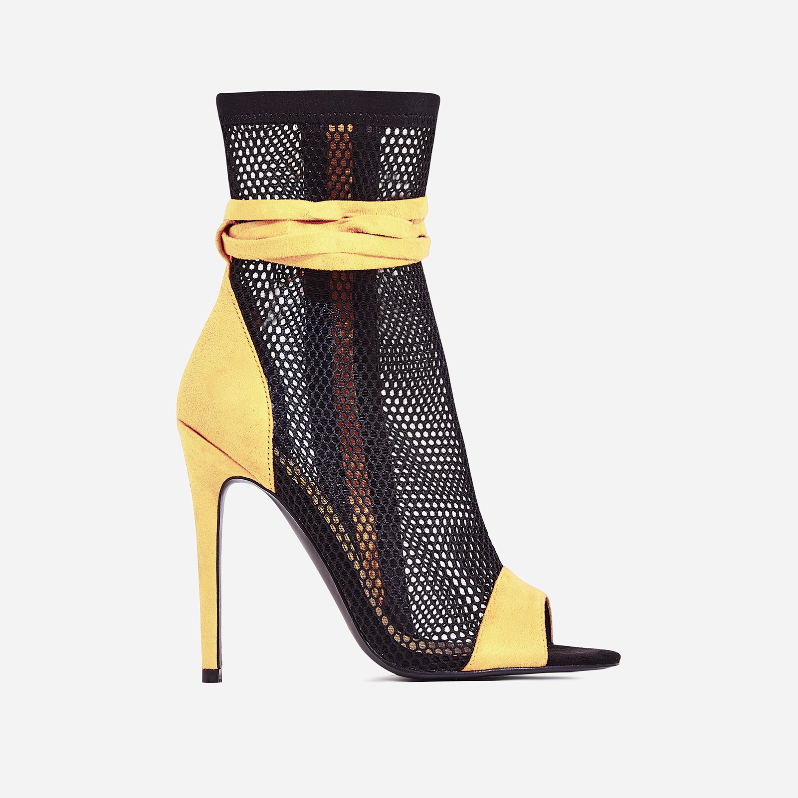 Jax Lace Up Mesh Peep Toe Heel In Yellow Faux Suede