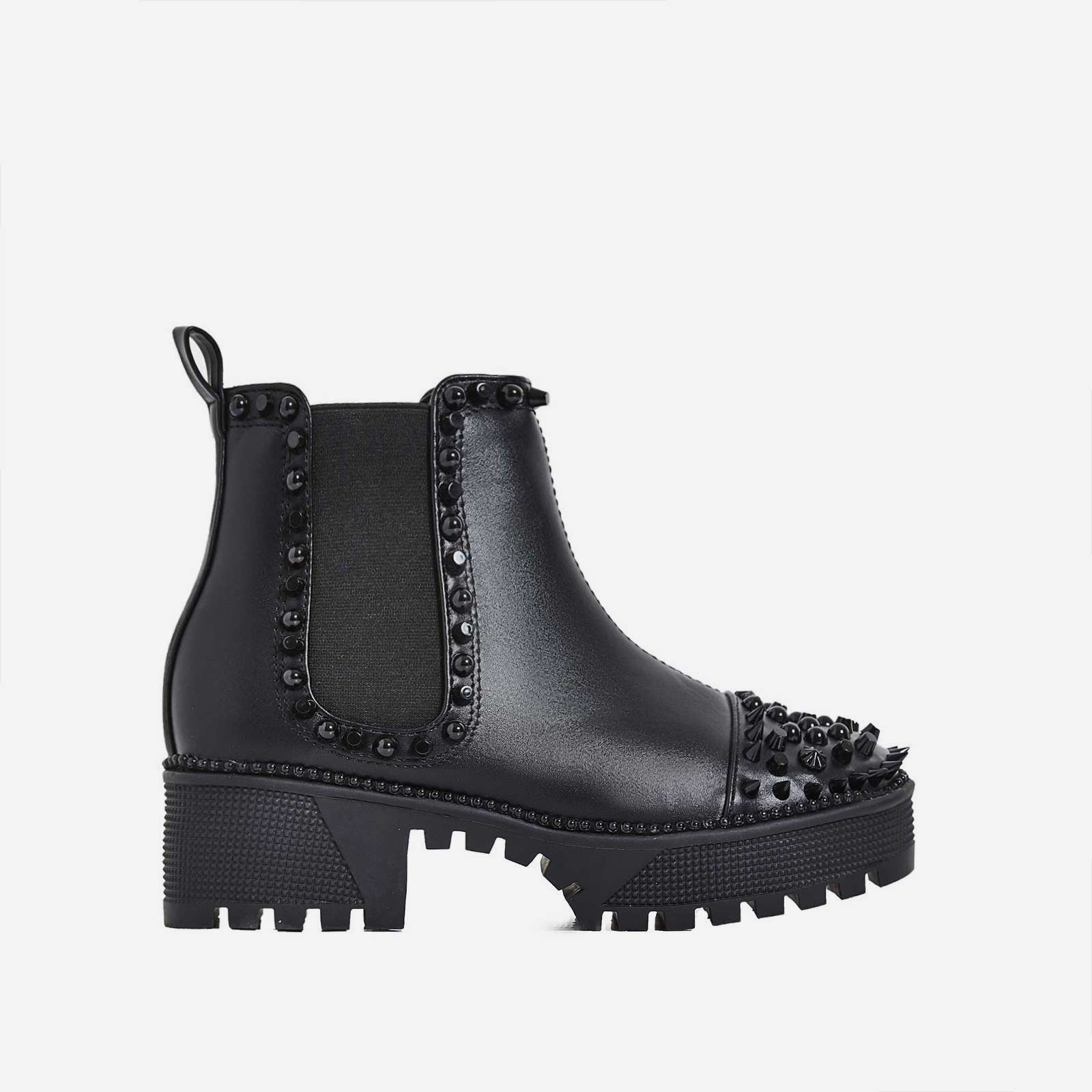 Jack Black Studded Detail Biker Boot In Black Faux Leather
