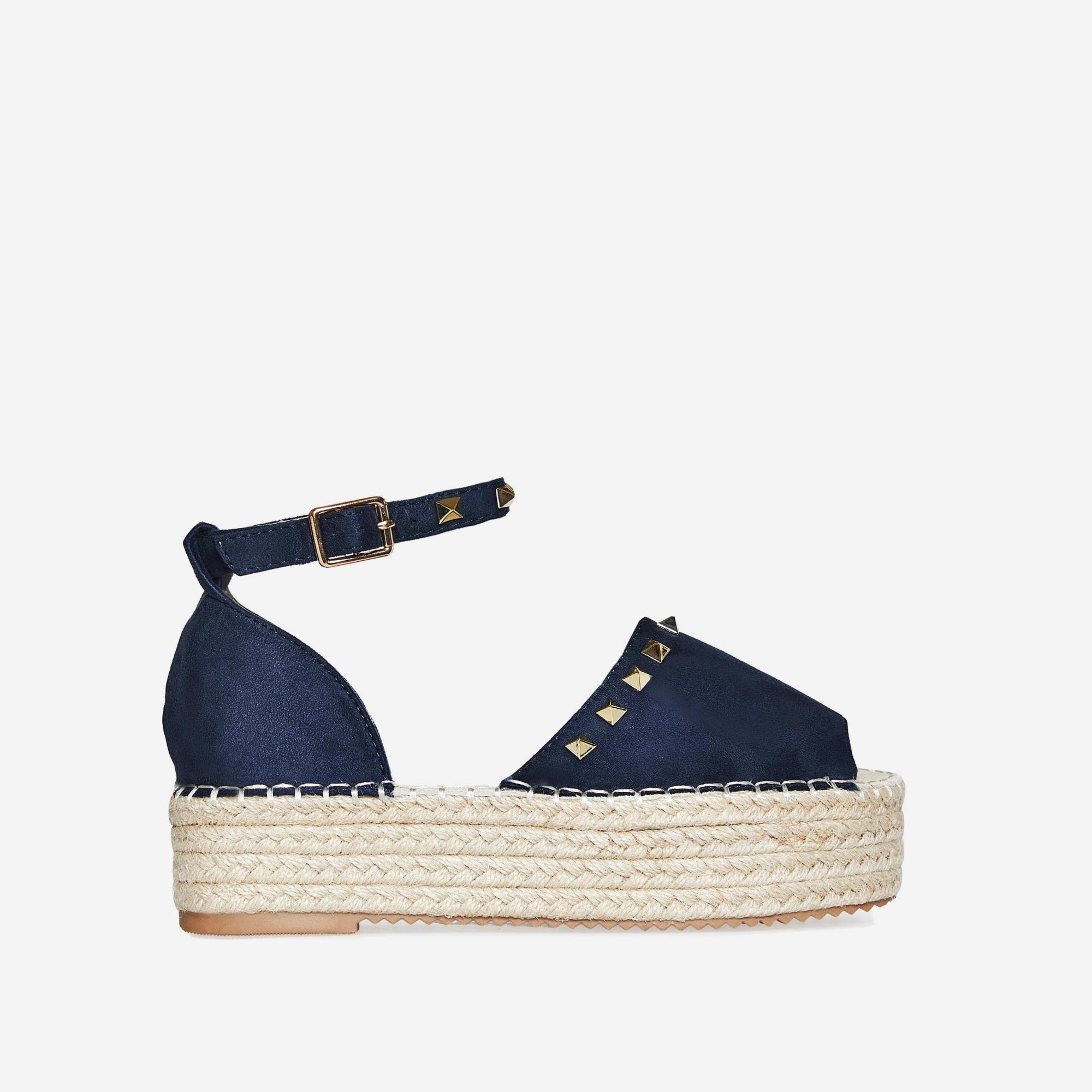 Jelena Studded Detail Flatform Espadrille Sandal In Blue Faux Suede