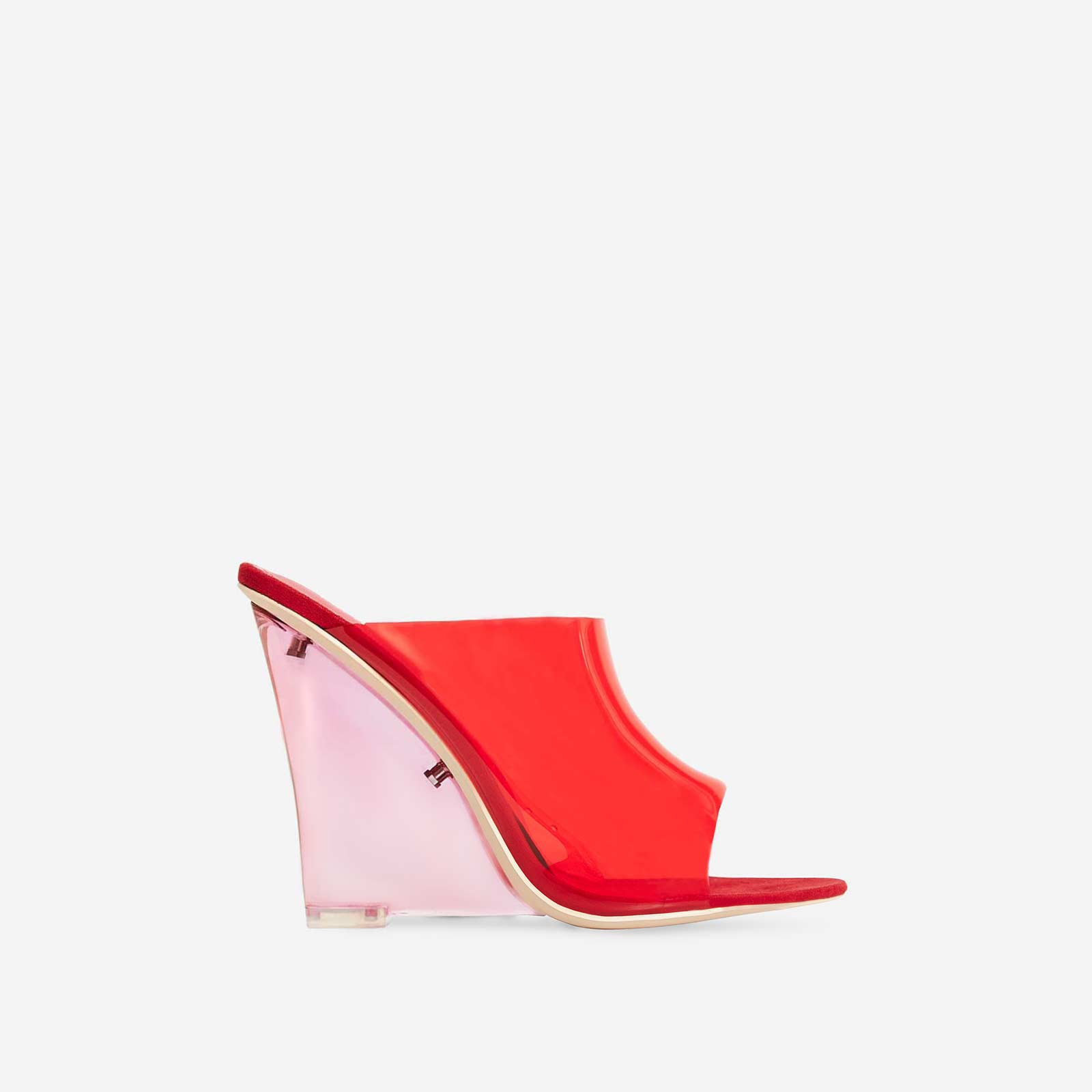 Jelly Perspex Wedge Mule In Red Faux Suede