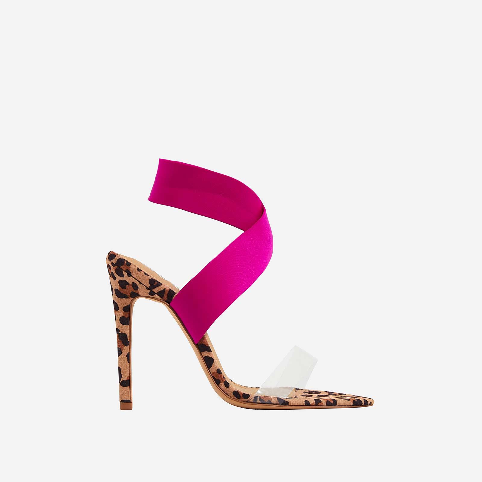 Joma Perspex Detail Heel In Tan Leopard Print Faux Suede