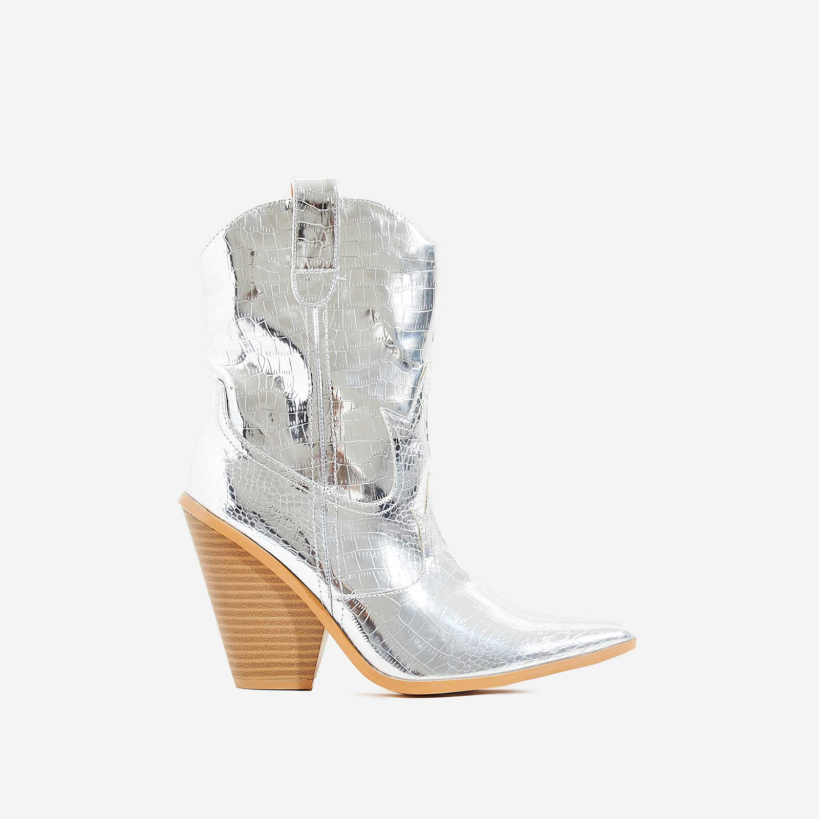 Kani Western Ankle Boot In Metallic Silver Croc Print Faux Leather