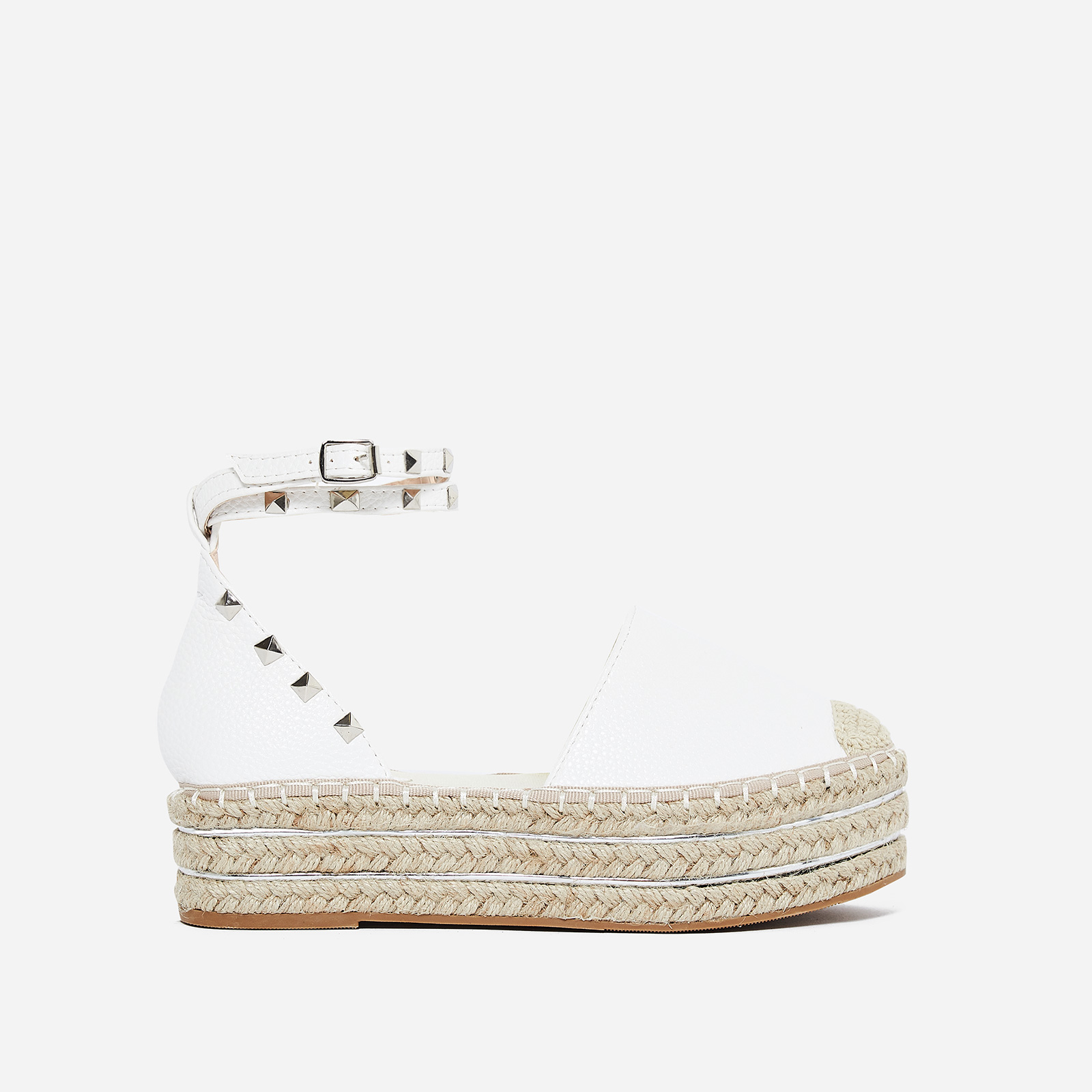 Dublin Studded Detail Flatform Espadrille In White Faux Leather