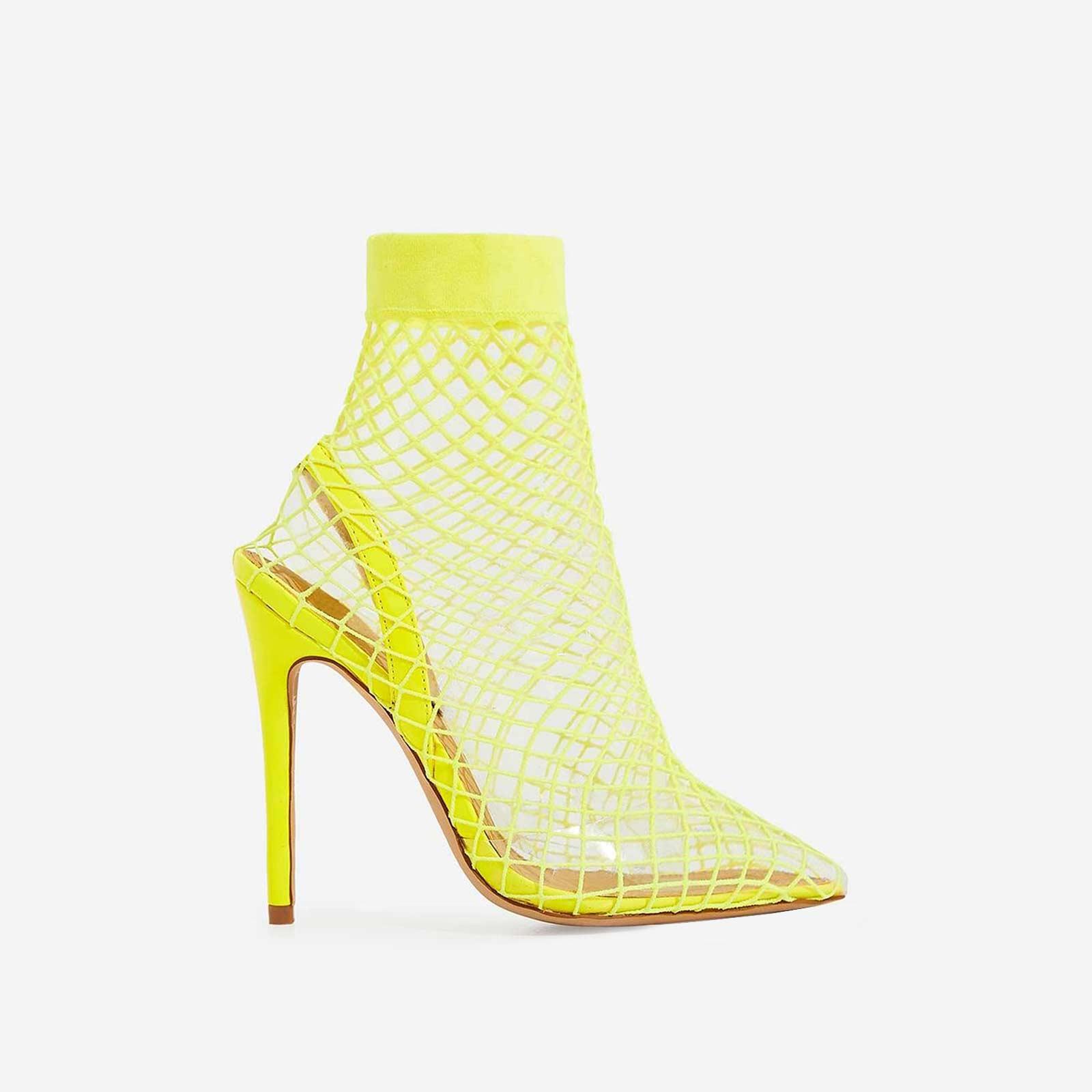 Juan Fishnet Perspex Heel In Neon Yellow Patent