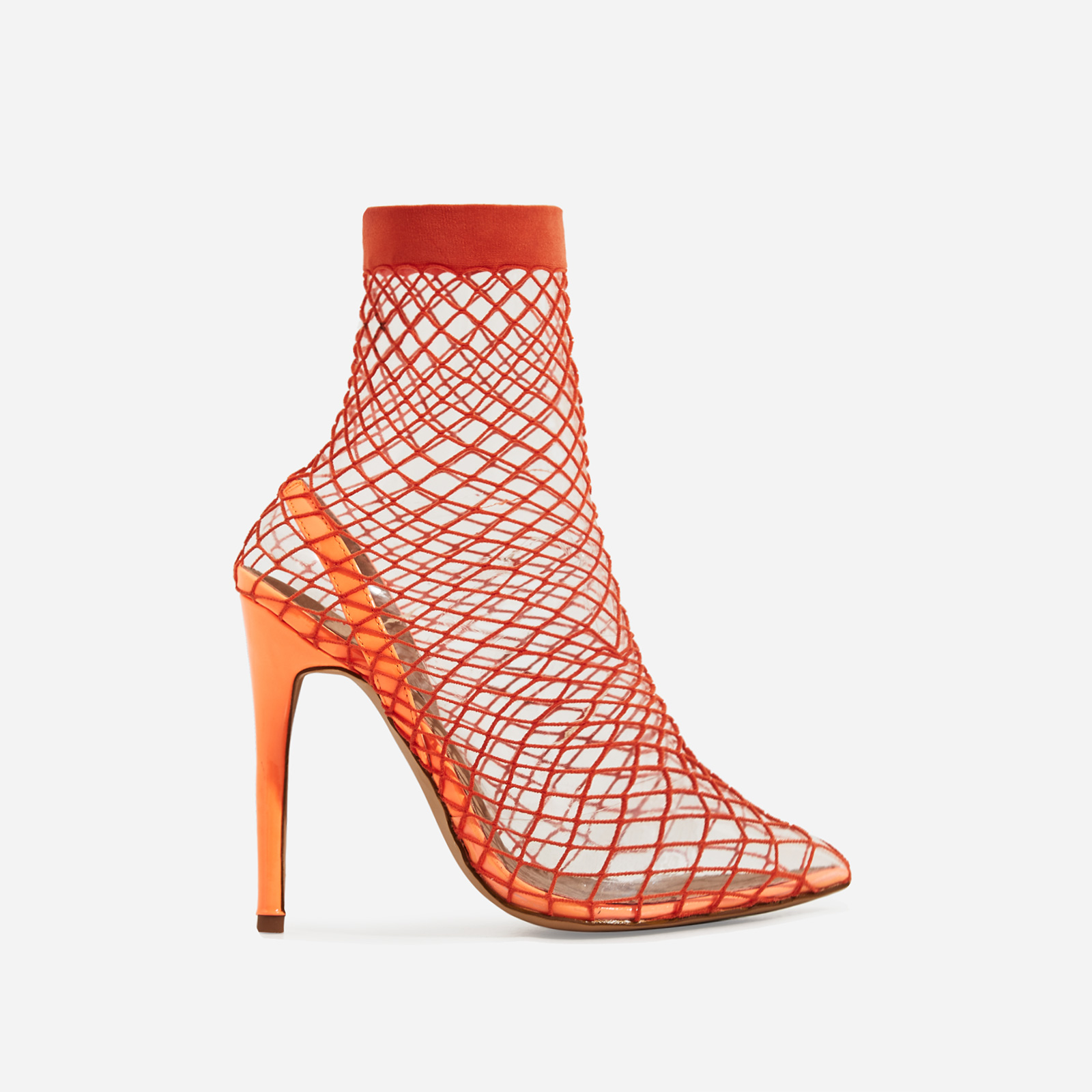 Juan Fishnet Perspex Heel In Neon Orange Patent