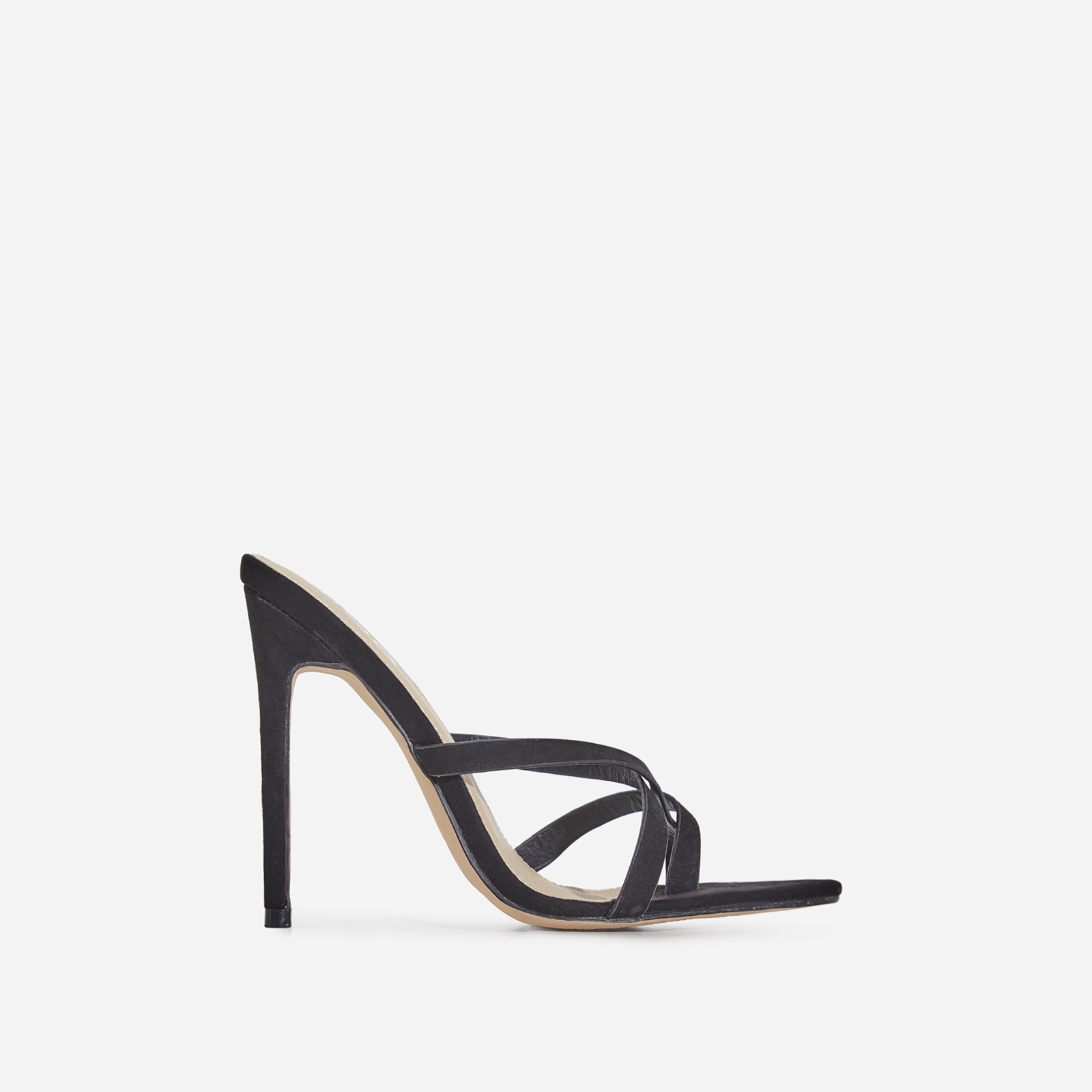 Julie Toe Strap Heel Mule In Black Faux Suede