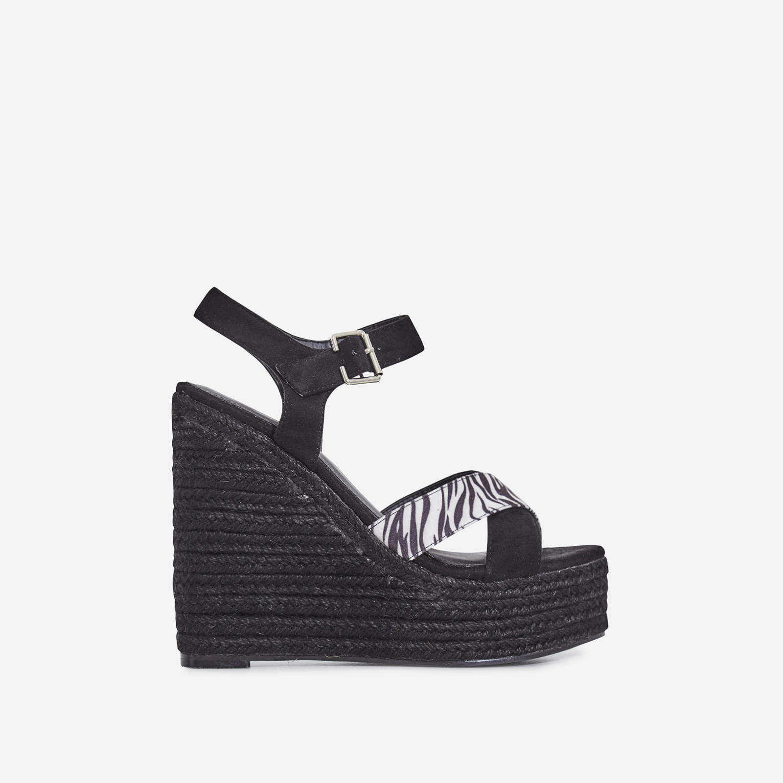 Kadi Espadrille Wedge Platform Heel In Black Faux Suede