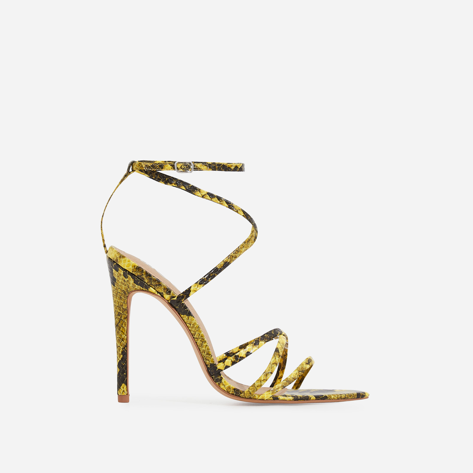 Kaia Pointed Barely There Heel In Neon Yellow Snake Print Faux Leather