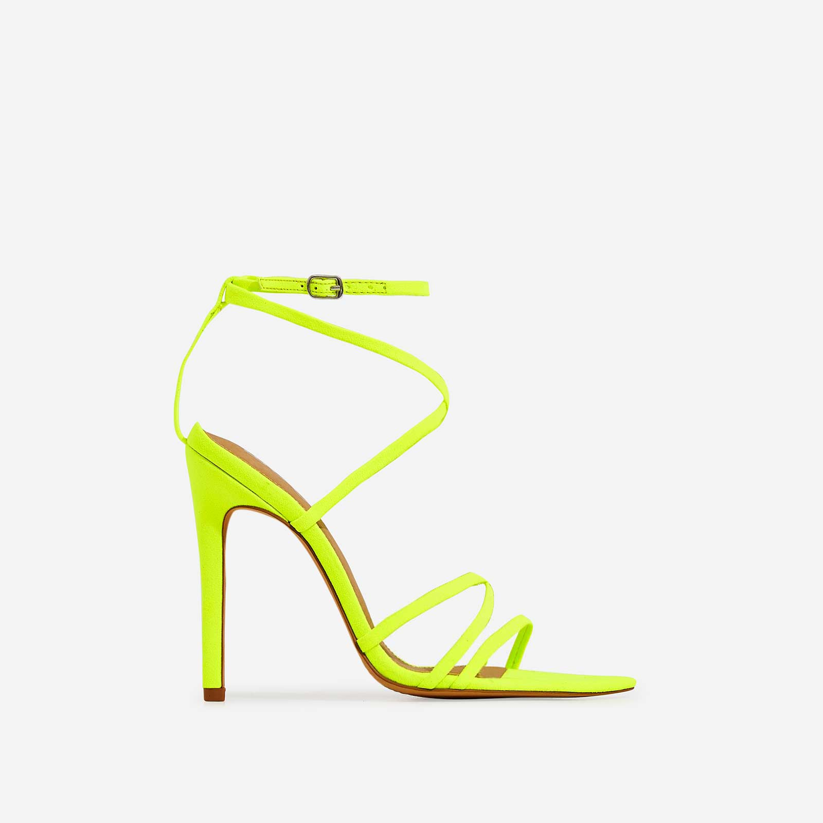 Kaia Pointed Barely There Heel In Neon Yellow Faux Suede
