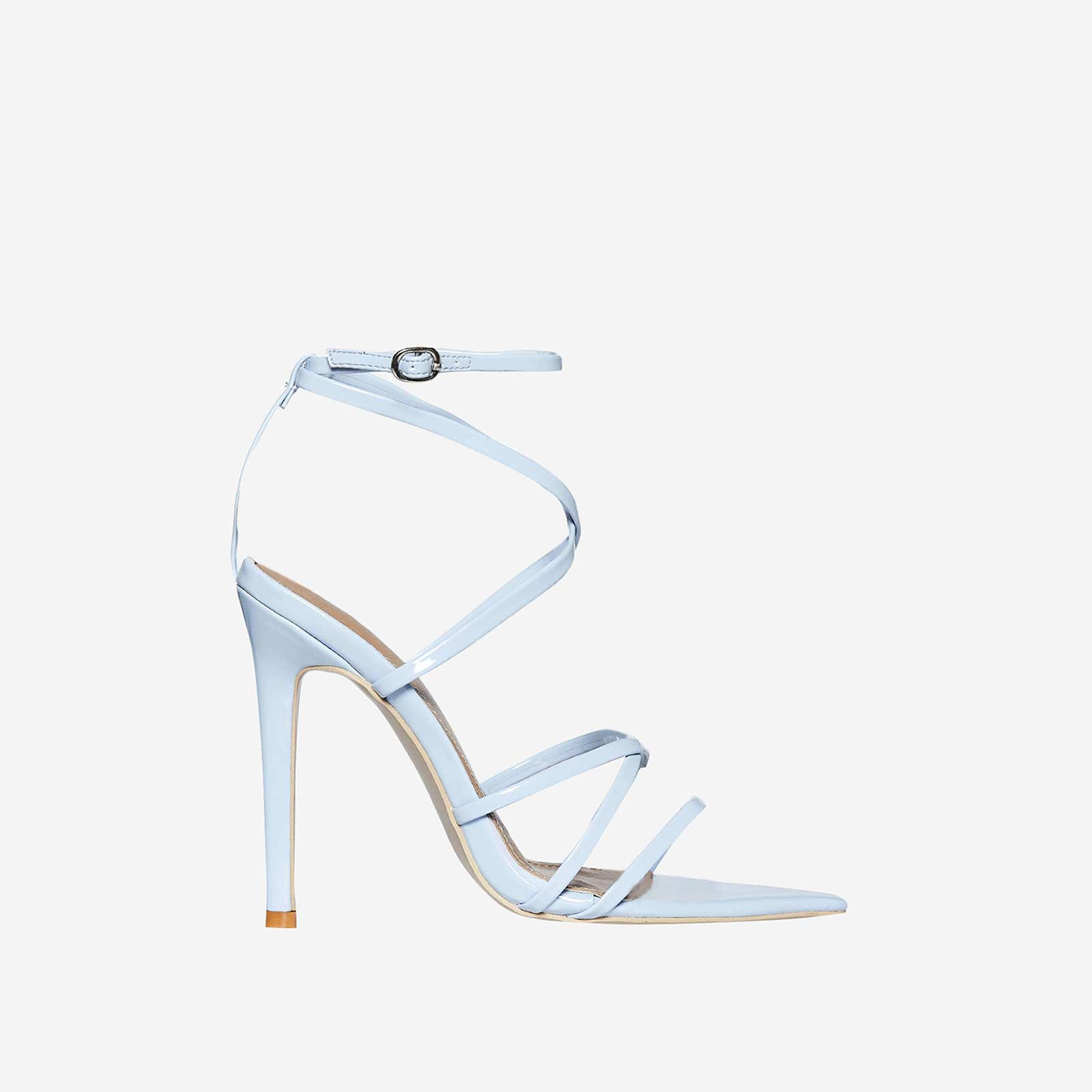 Kaia Pointed Barely There Heel In Blue Patent