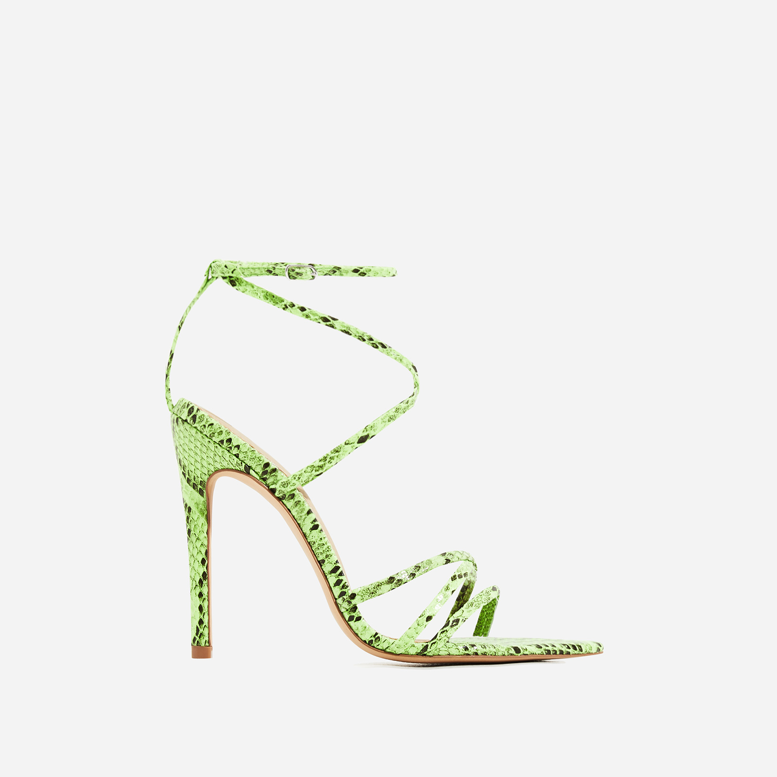 Kaia Pointed Barely There Heel In Neon Green Snake Print Faux Leather