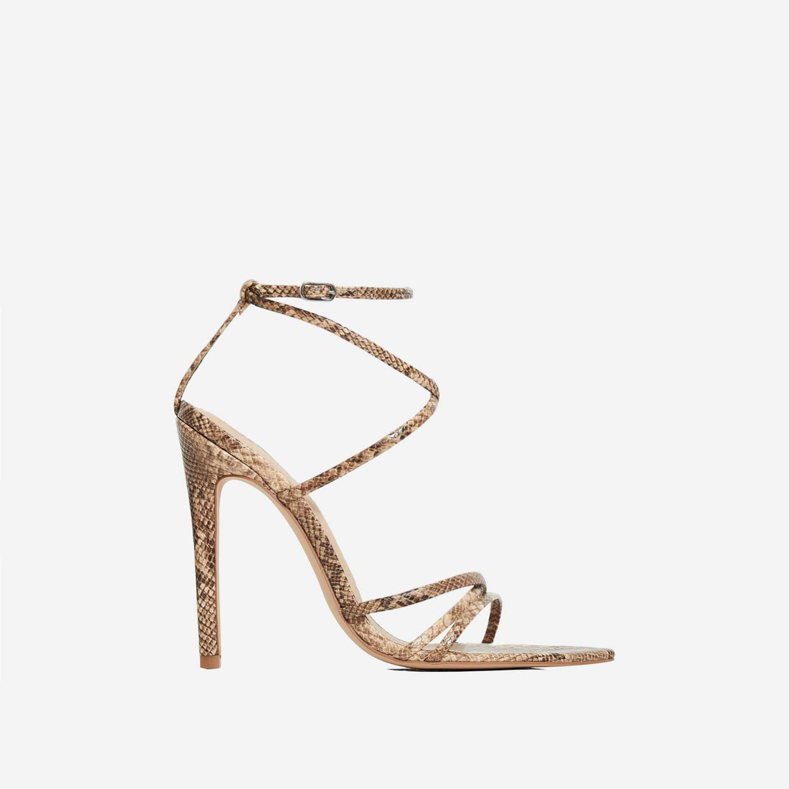 Kaia Pointed Barely There Heel In Nude Snake Print Faux Leather