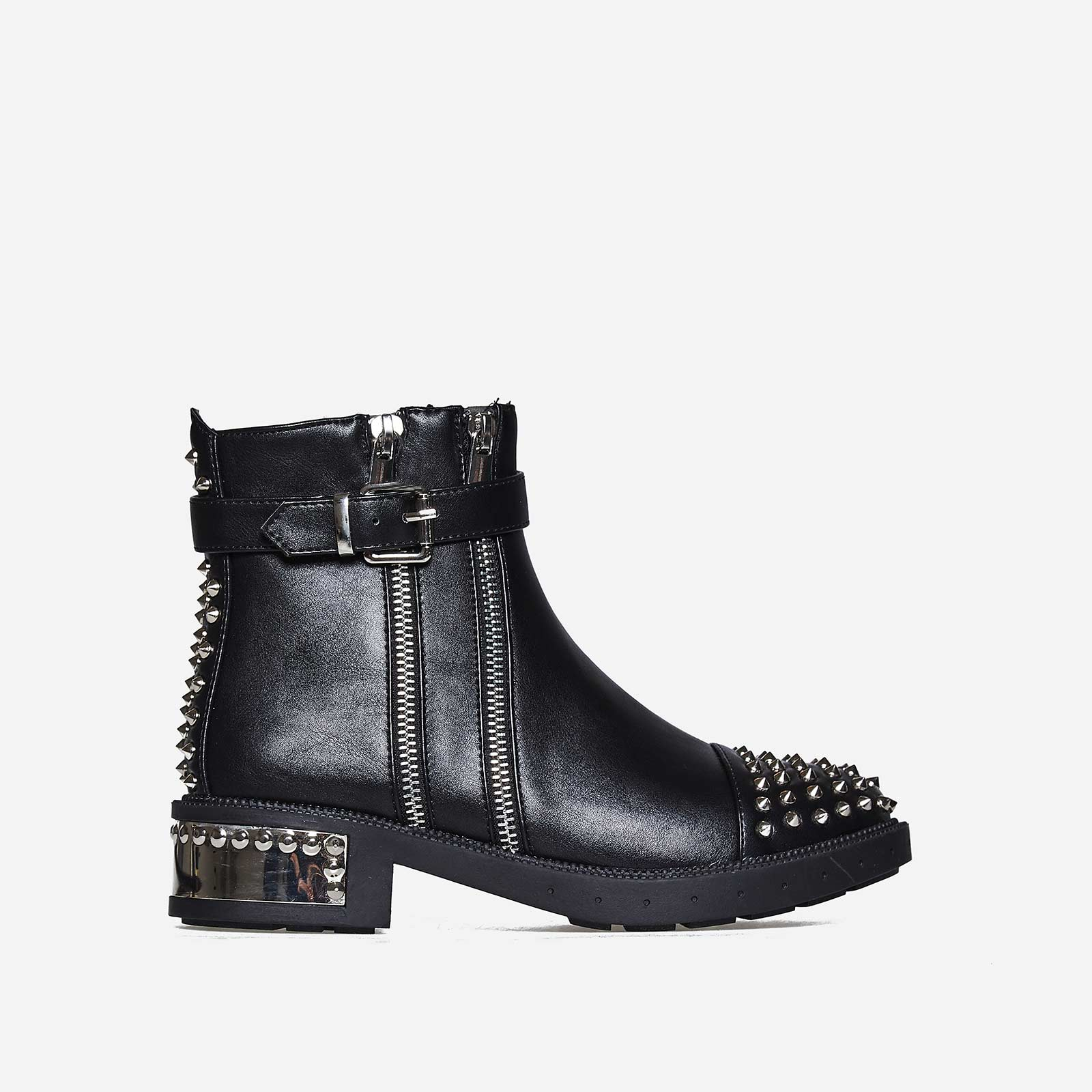 Kalda Zip And Studded Detail Biker Boot In Black Faux Leather