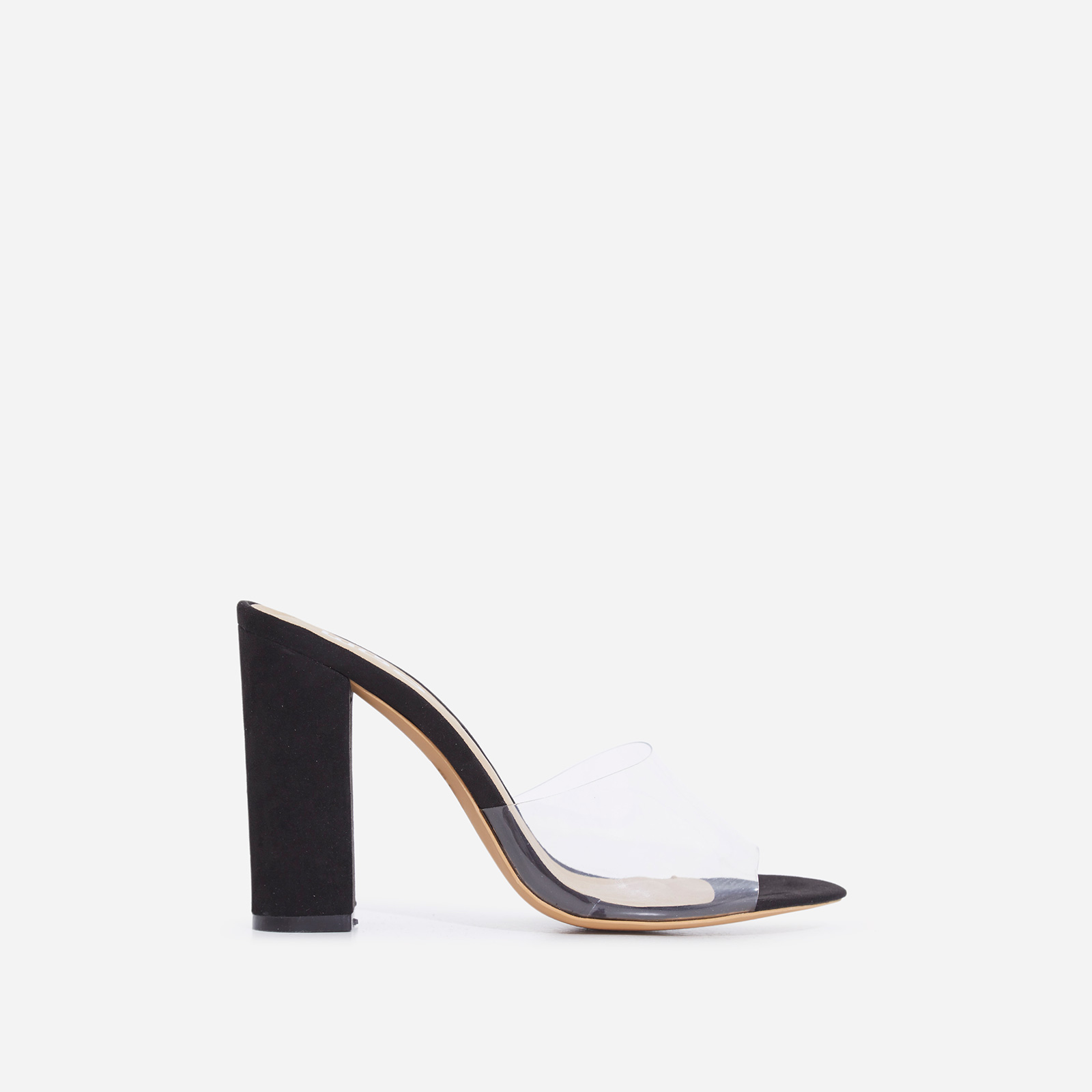 Kalia Peep Toe Perspex Block Heel In Black Faux Suede