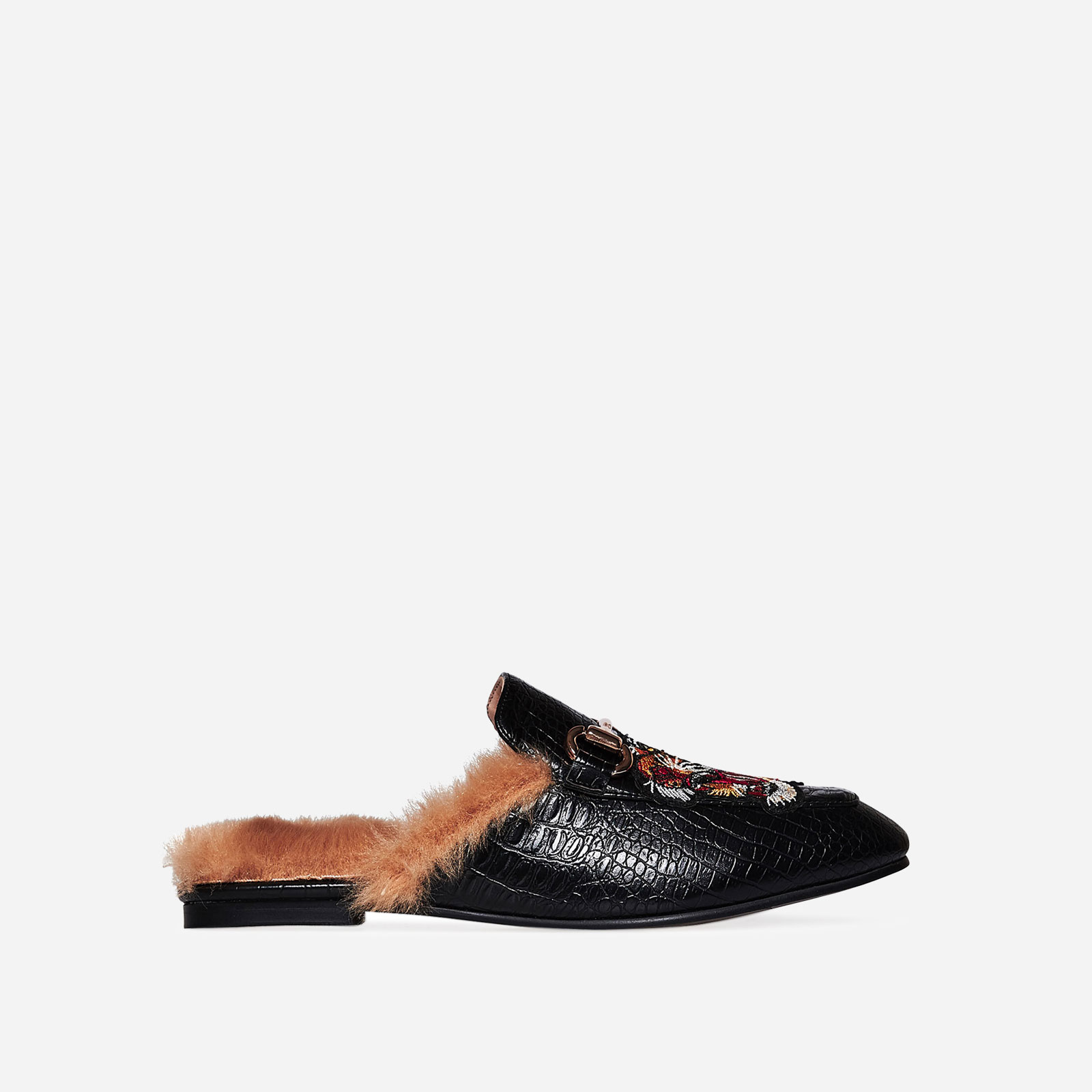 Kapri Embroidered Faux Fur Lined Slip On Mule In Black Croc Faux Leather