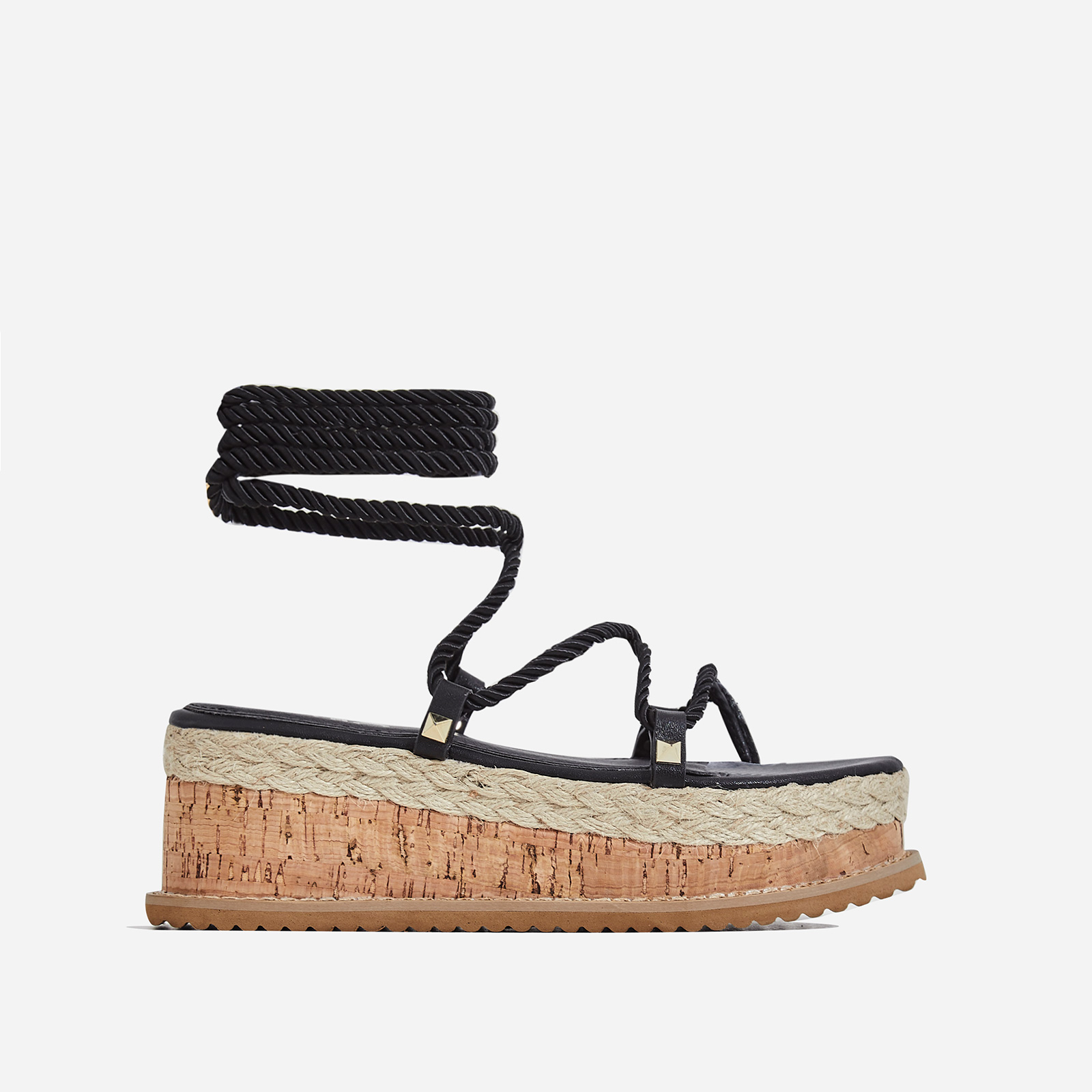 India Studded Detail Espadrille Flatform In Black Rope