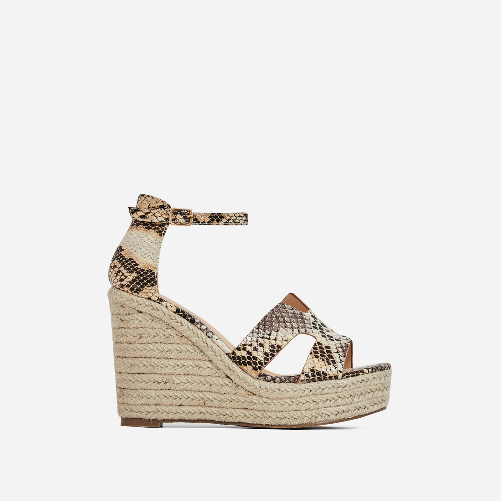 Kayson Platform Espadrille Wedge Block Heel In Nude Snake Print Faux Leather