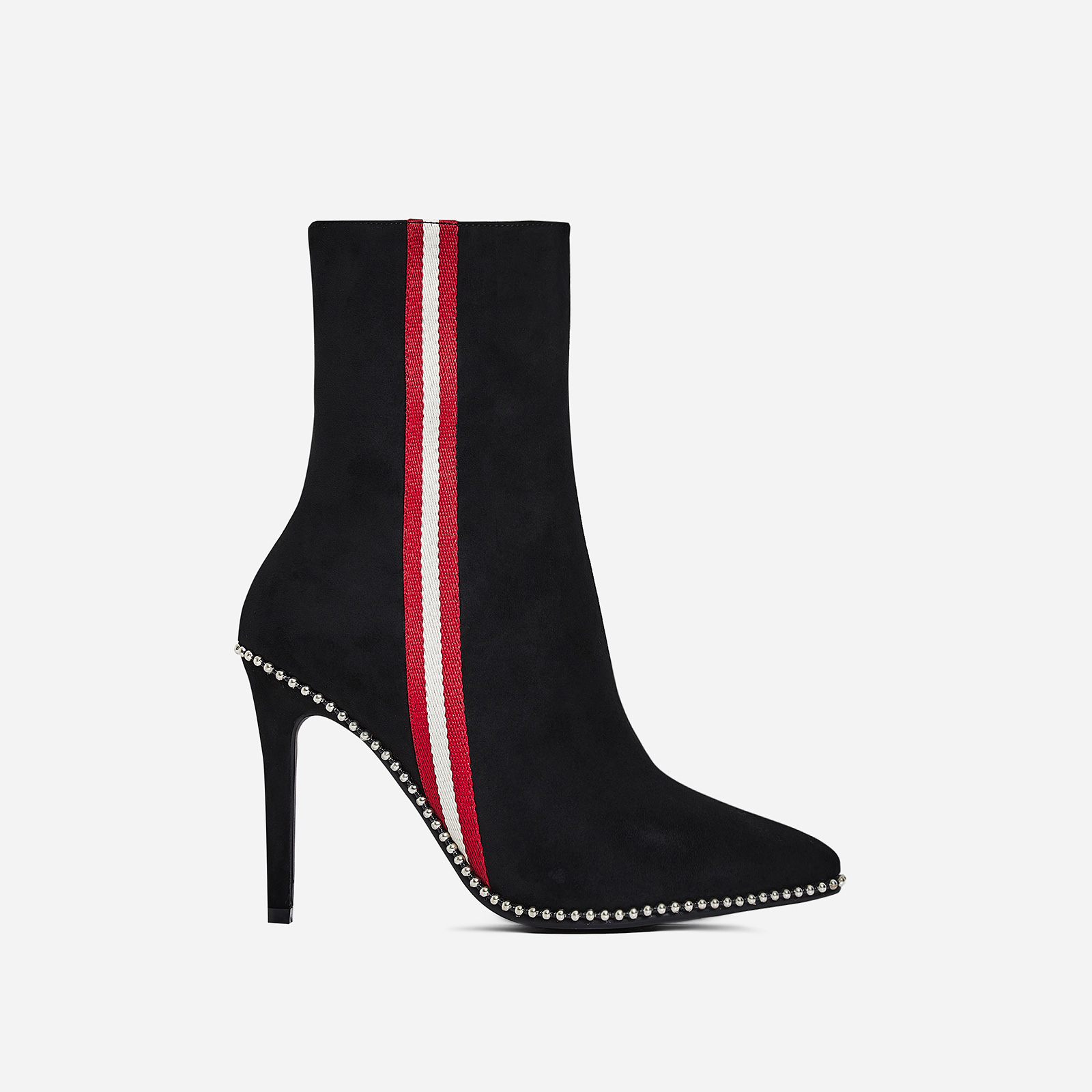 Keke Stripe Detail Ankle Boot In Black Faux Suede