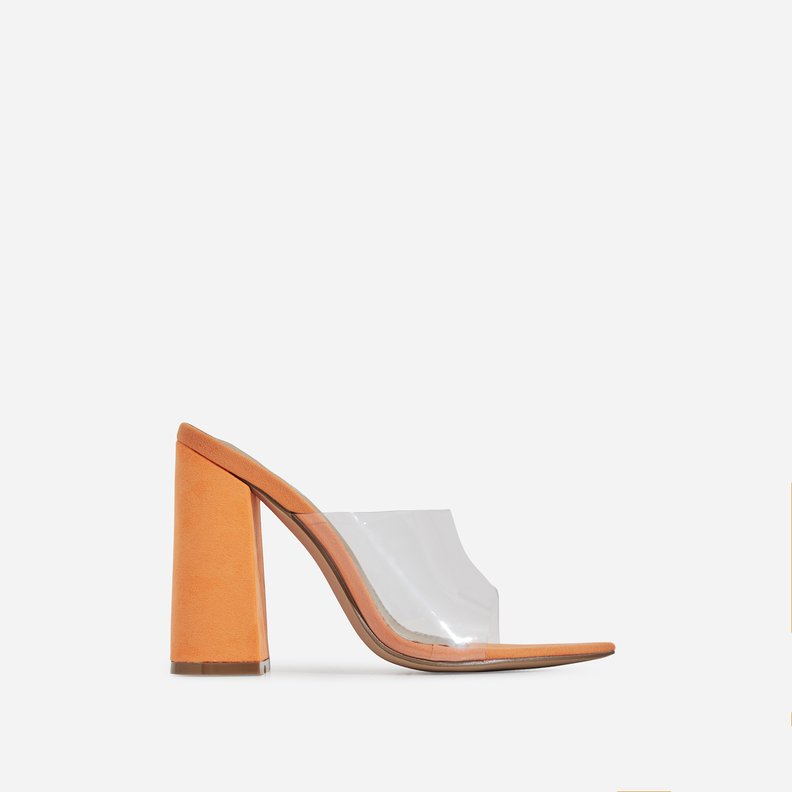 Kelby Pointed Peep Toe Block Heel Mule In Orange Faux Suede