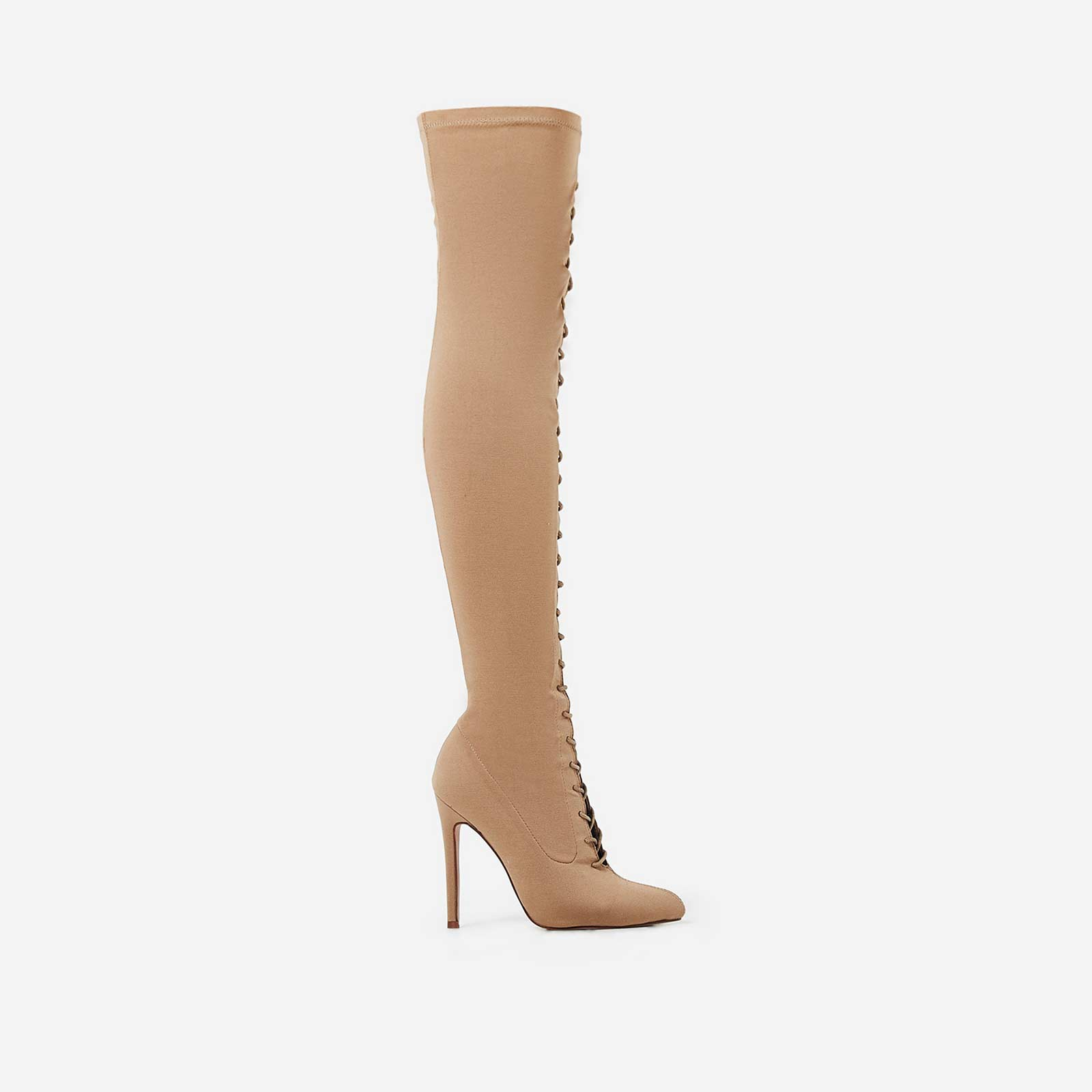 Kendrick Lace Up Long Boot In Nude Knit