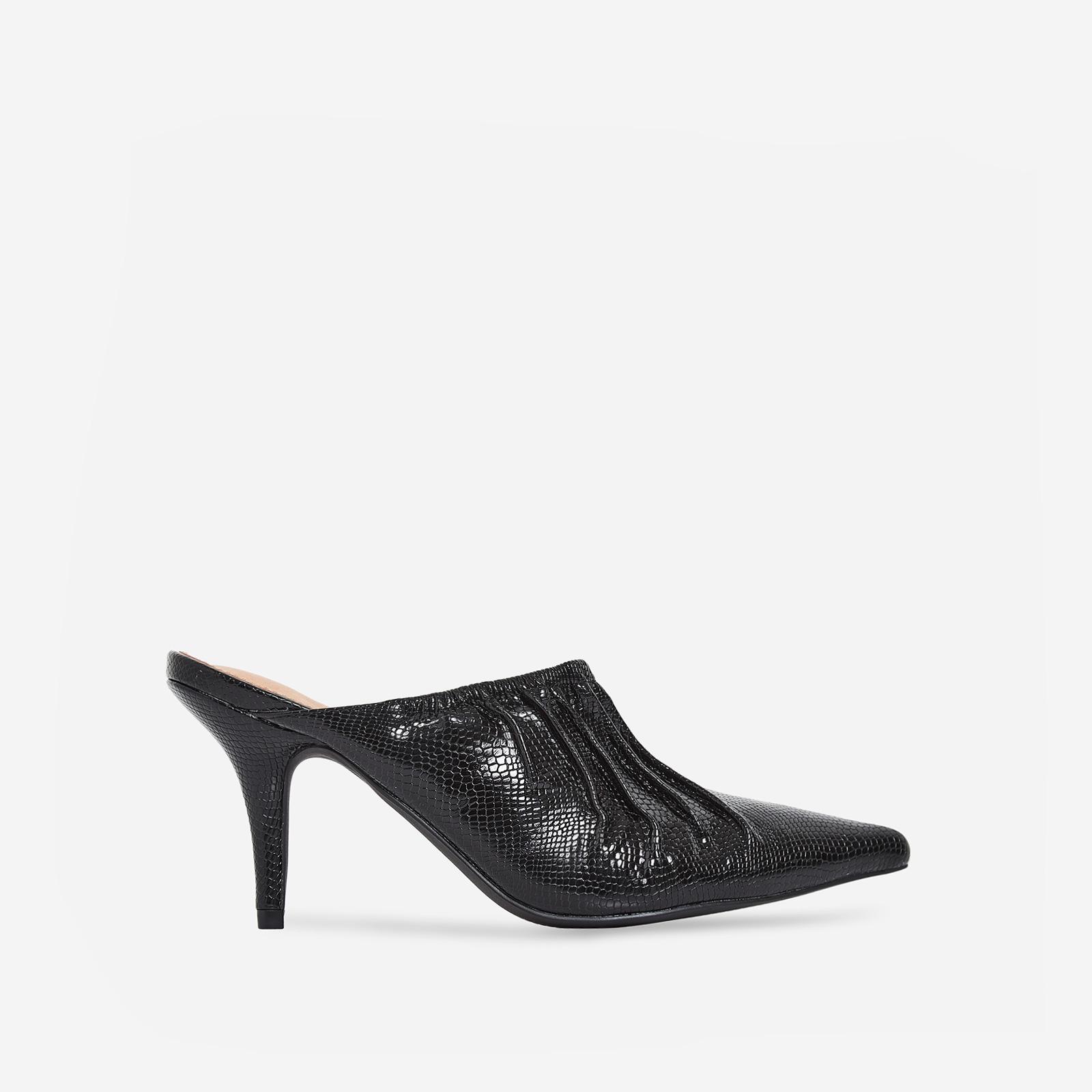 Kenza Pointed Heel Mule In Black Snake Print Patent