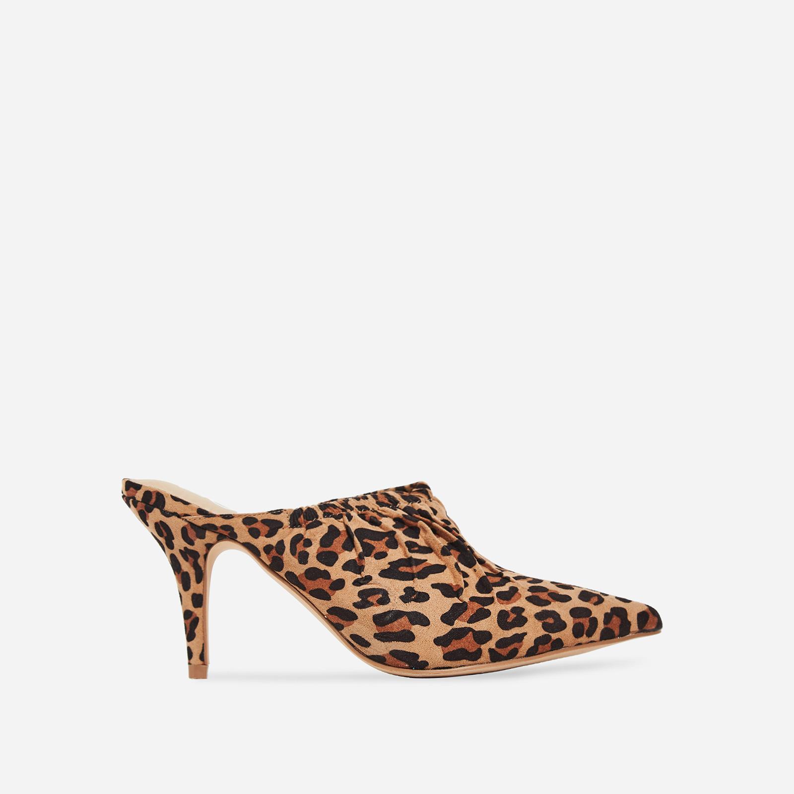 Kenza Pointed Heel Mule In Tan Leopard Print Faux Suede