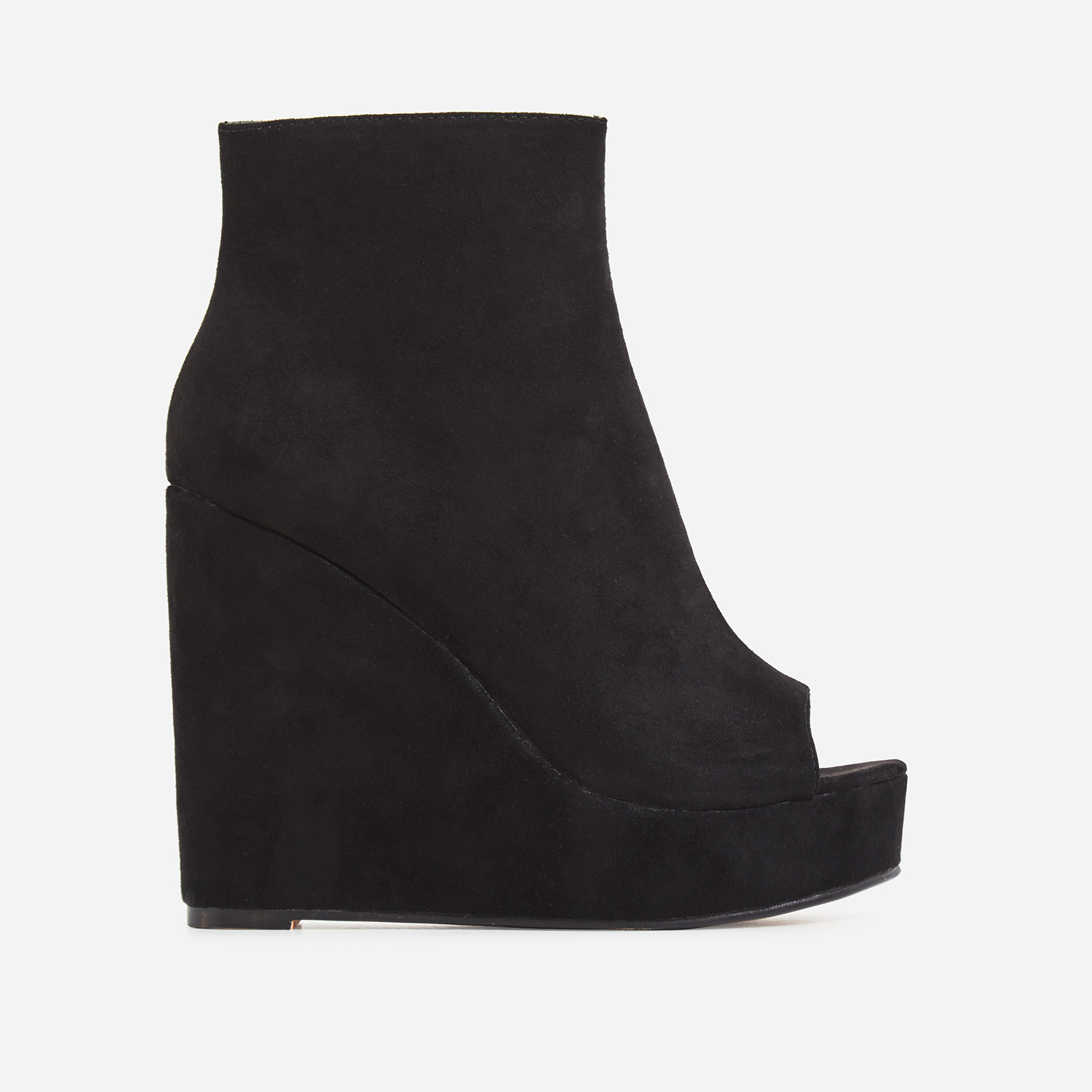 Khalid Peep Toe Platform Wedge Ankle Boot In Black Faux Suede