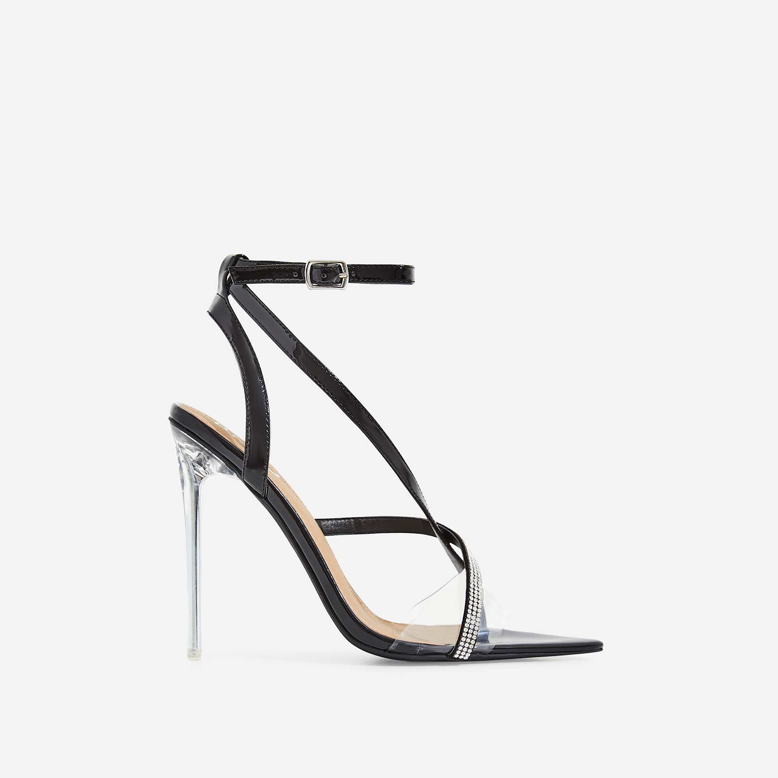 Khloe Diamante Pointed Perspex Heel In Black Patent