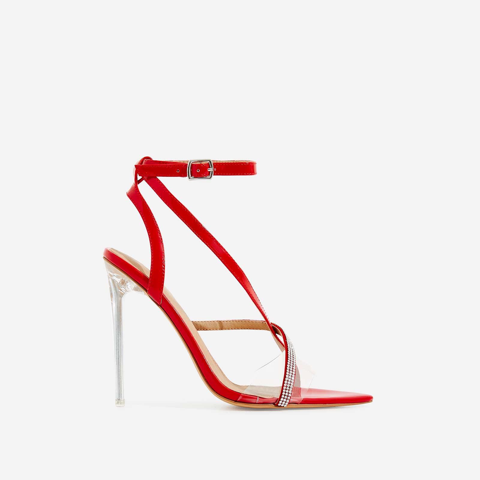 Khloe Diamante Pointed Perspex Heel In Red Patent