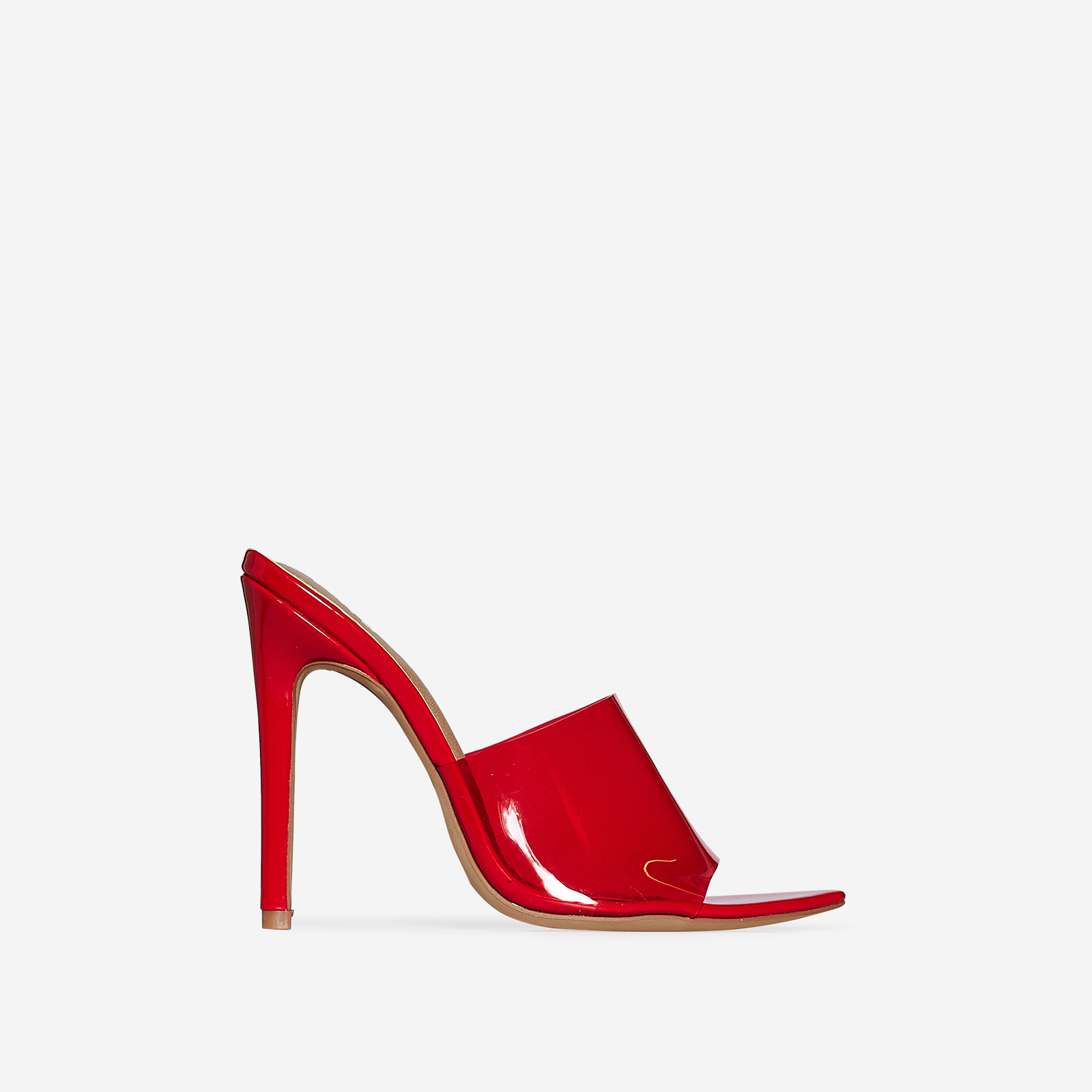 Kilo Perspex Peep Toe Mule In Red Patent