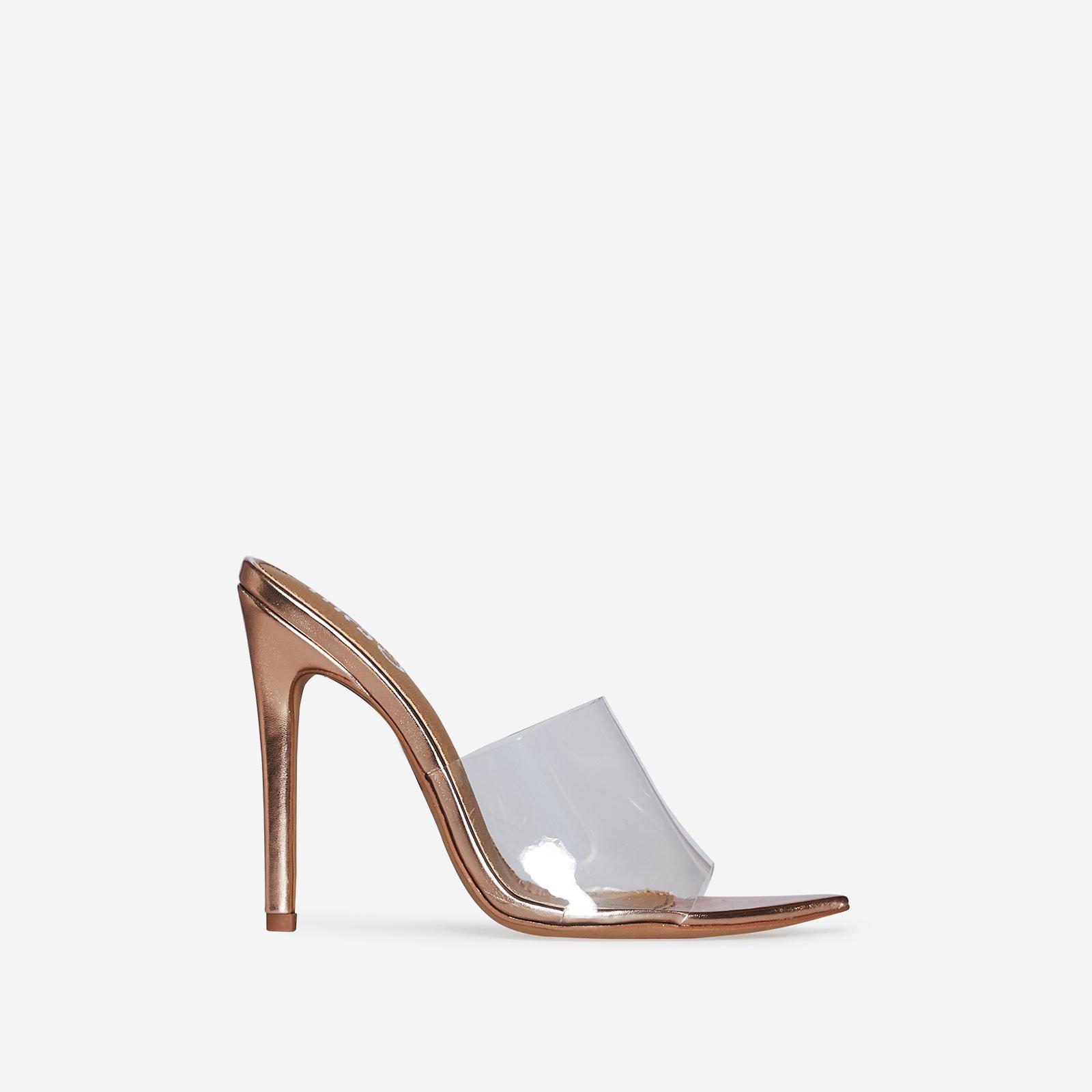 Kilo Perspex Peep Toe Mule In Rose Gold Patent