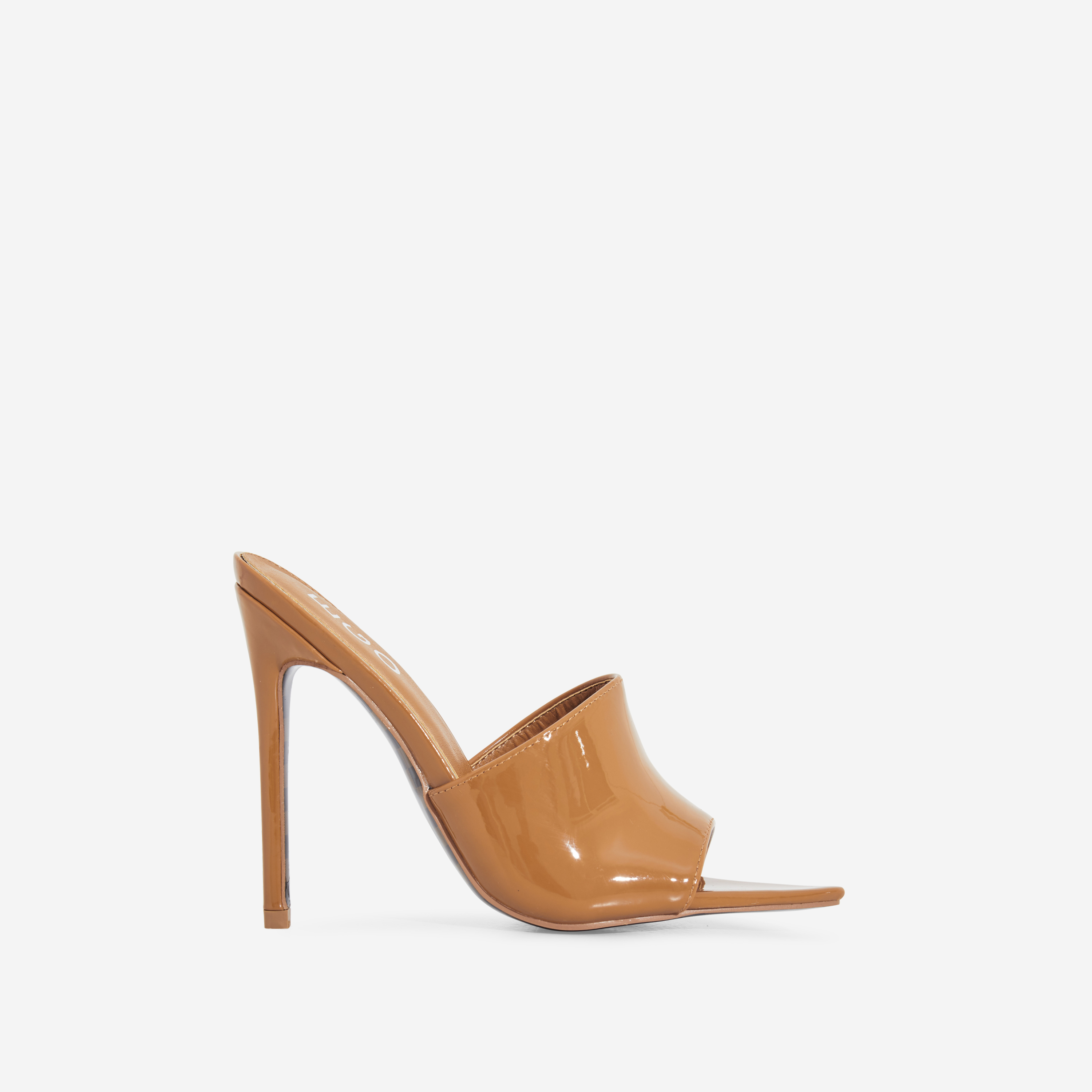 Koko Check Print Sole Pointed Peep Toe Mule In Mocha Patent