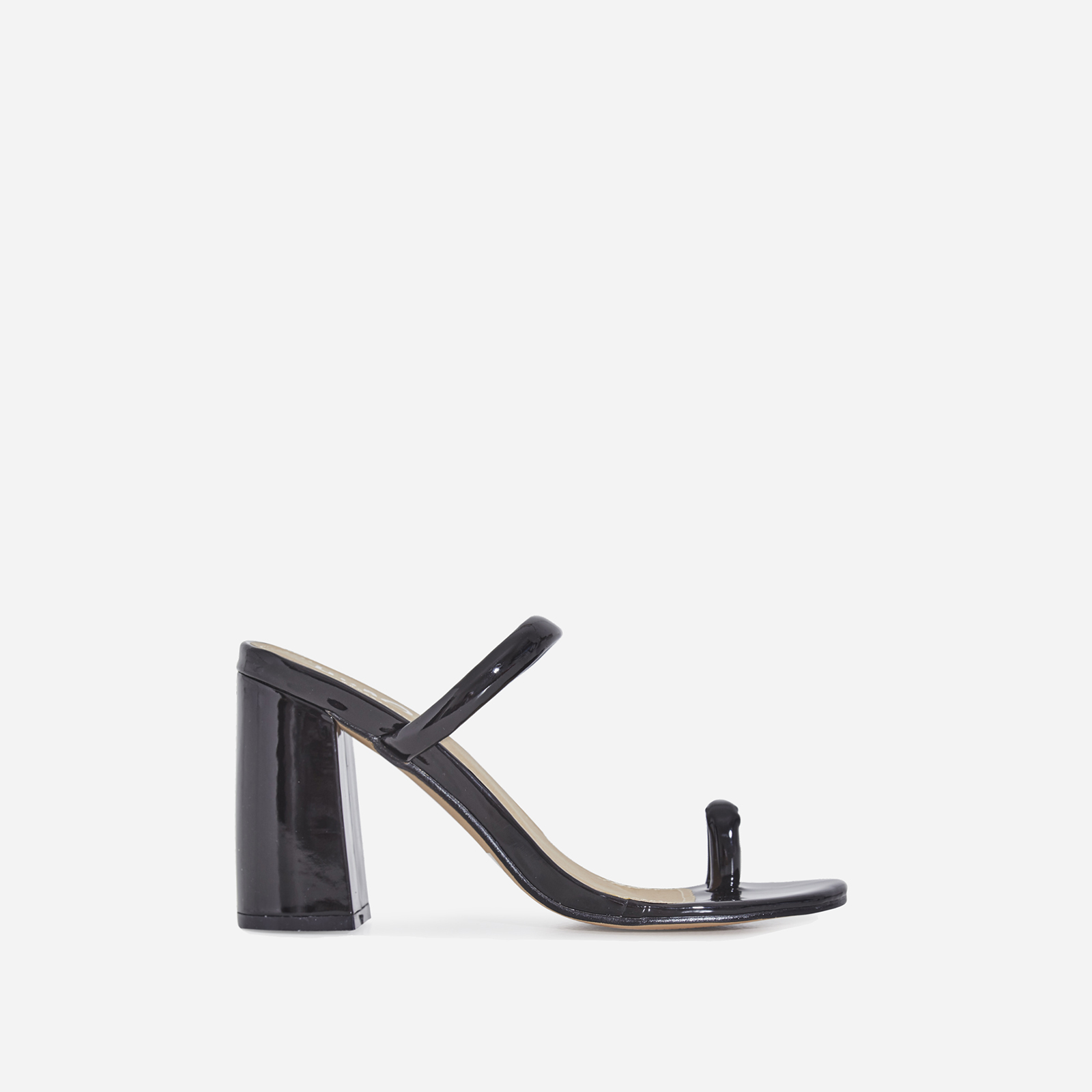 Kourt Toe Strap Black Heel Mule In Black Patent