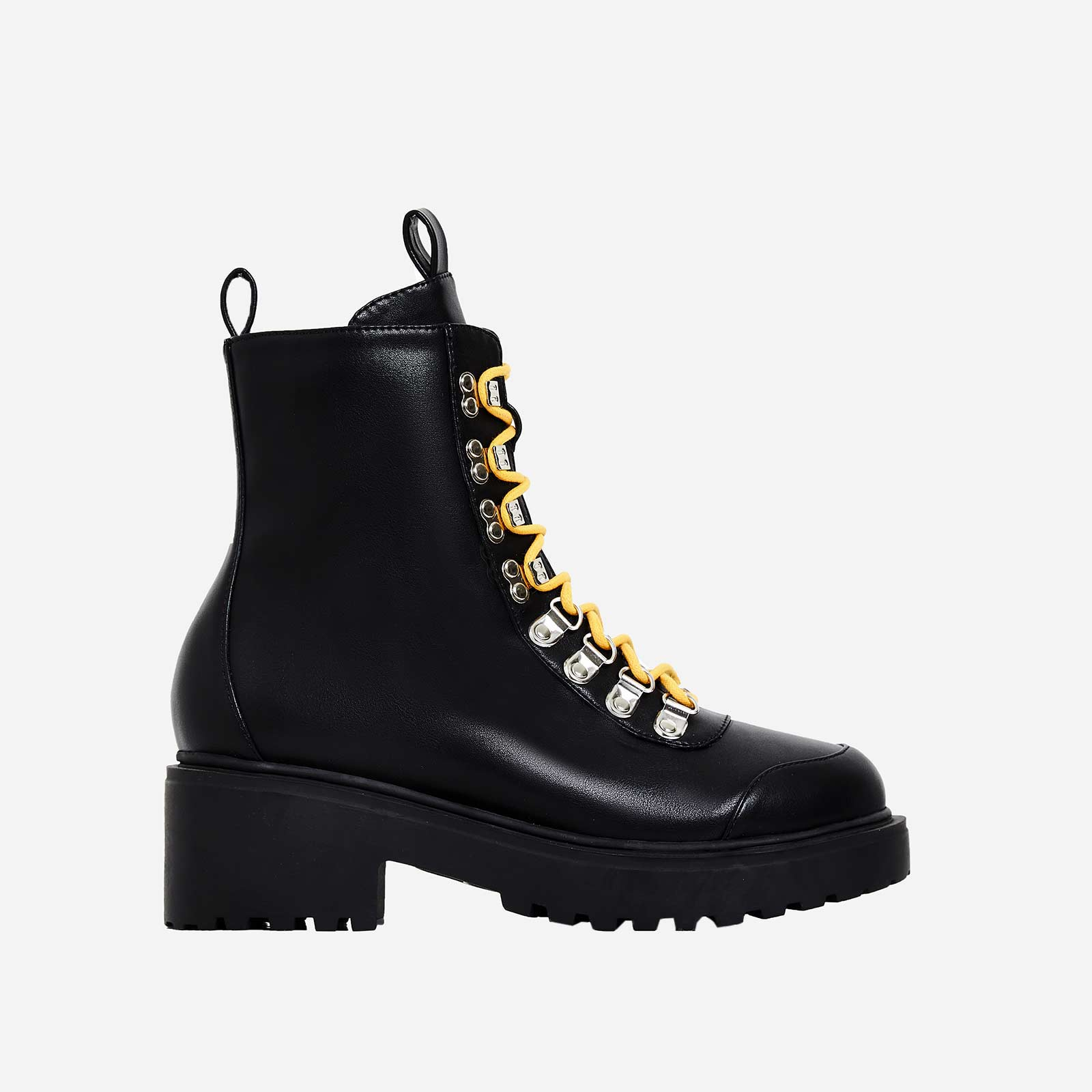 Kris Chunky Sole Lace Up Ankle Biker Boot In Black Faux Leather