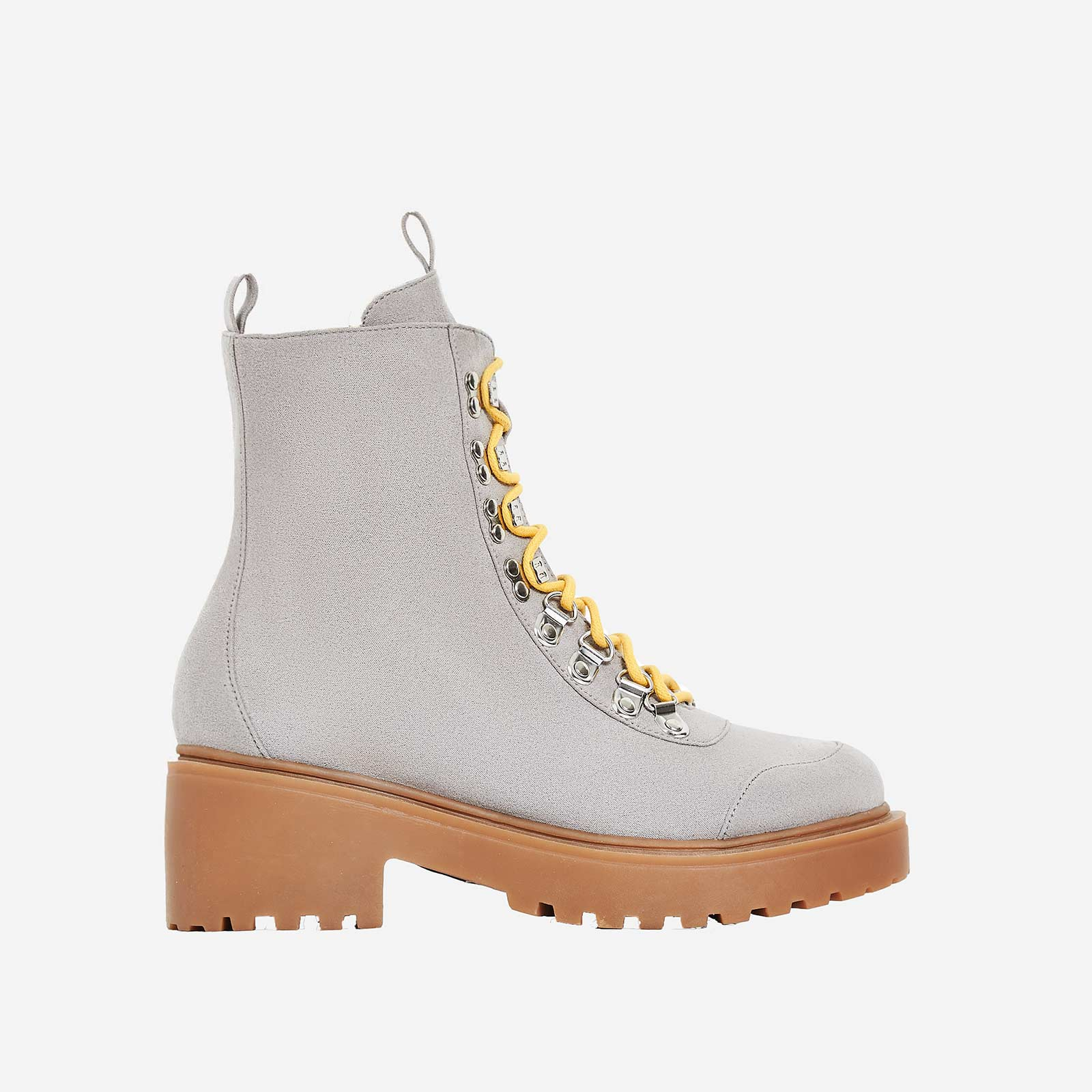 Kris Chunky Sole Lace Up Ankle Biker Boot In Grey Faux Suede