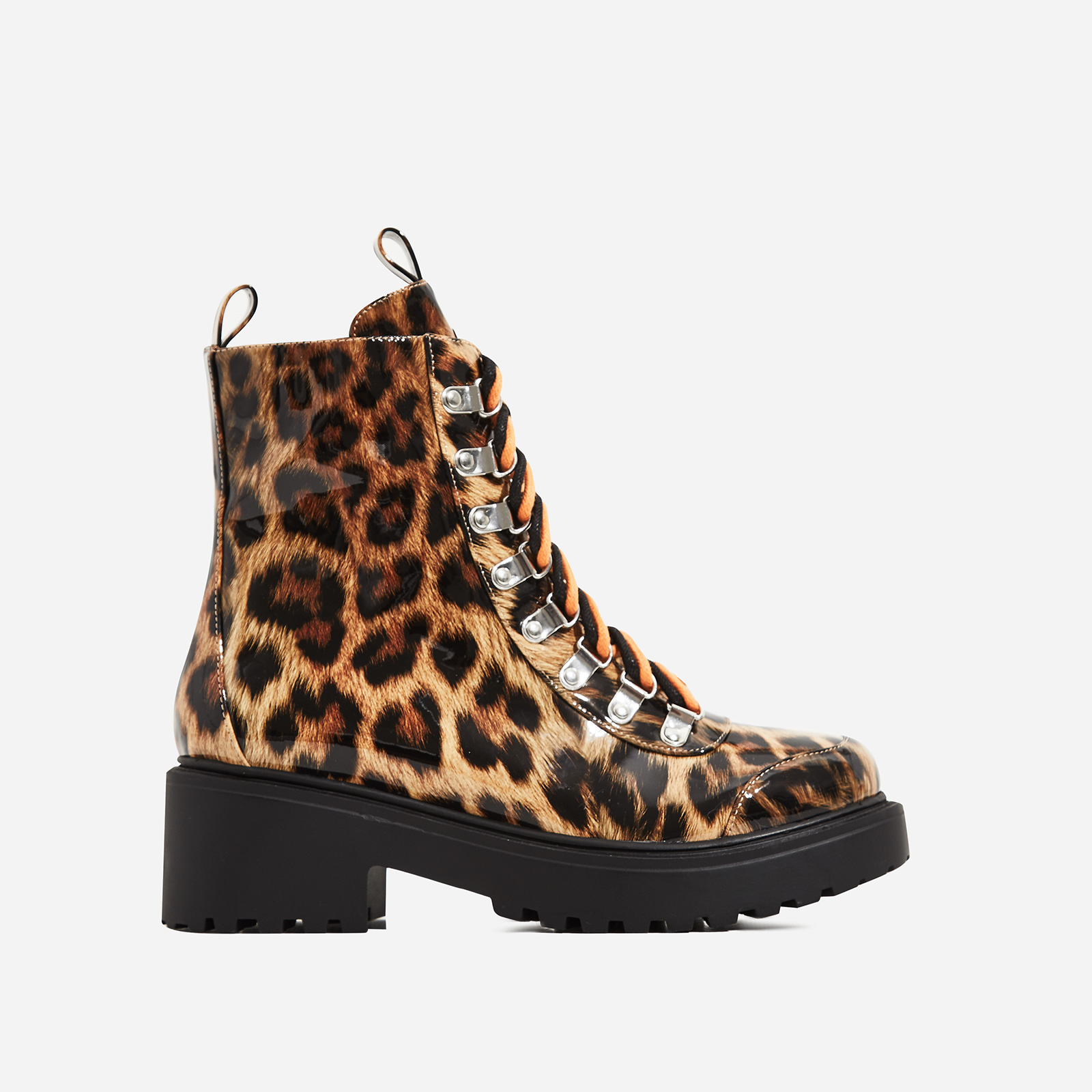 Kris Chunky Sole Lace Up Ankle Biker Boot In Tan Leopard Print Patent