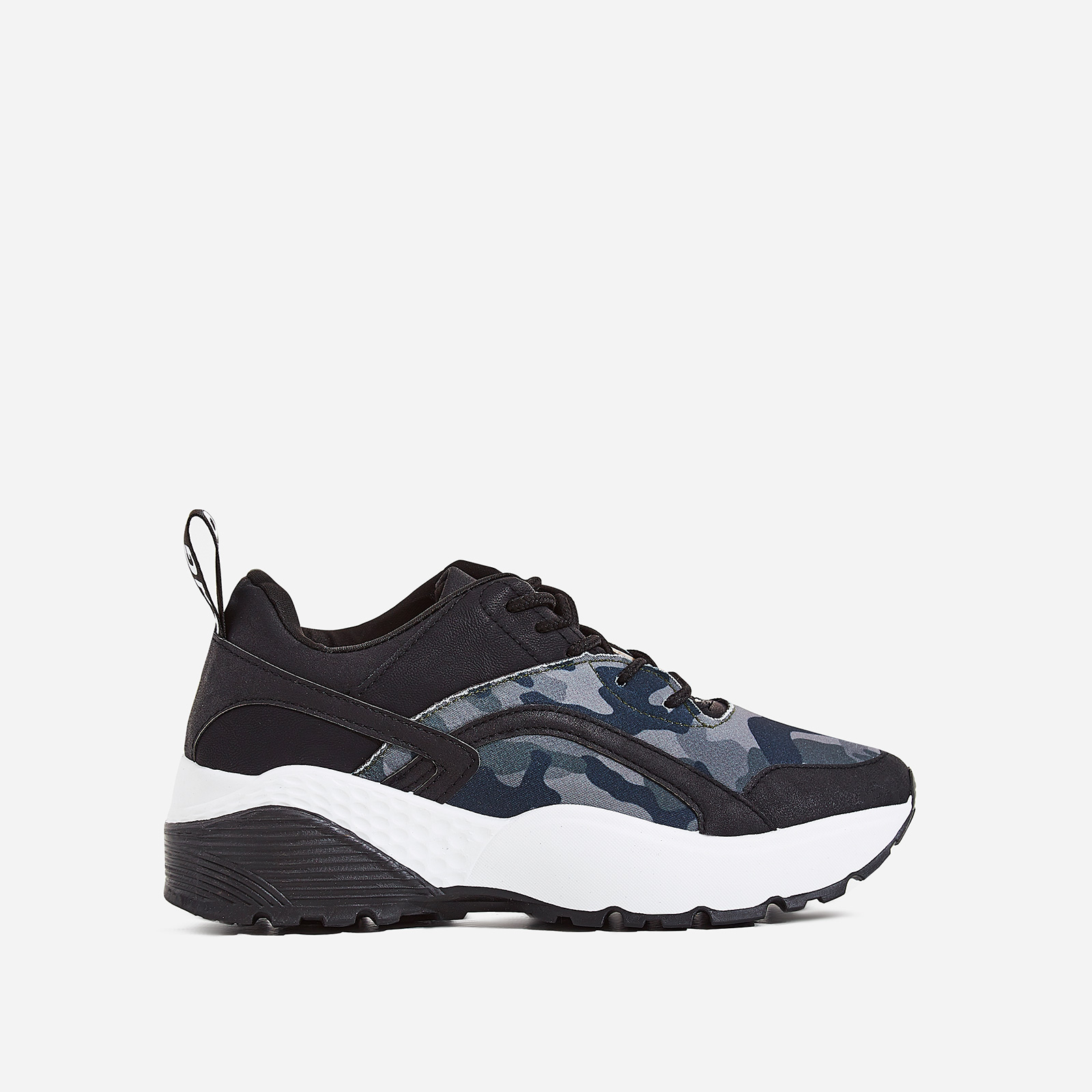 Aero Chunky Sole Trainer In Black Camouflage