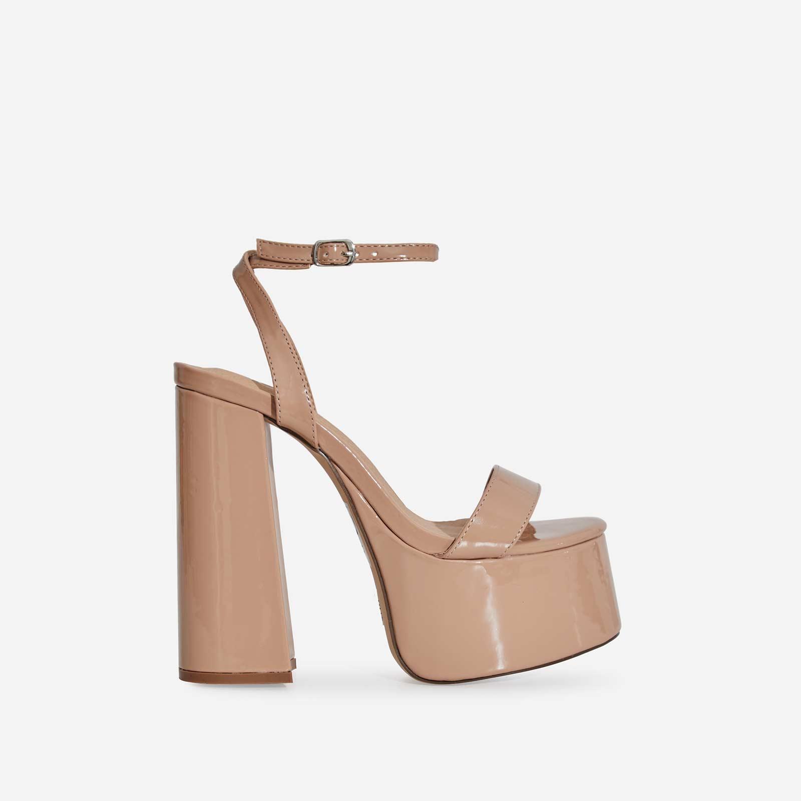 Lady Platform Block Heel In Nude Patent