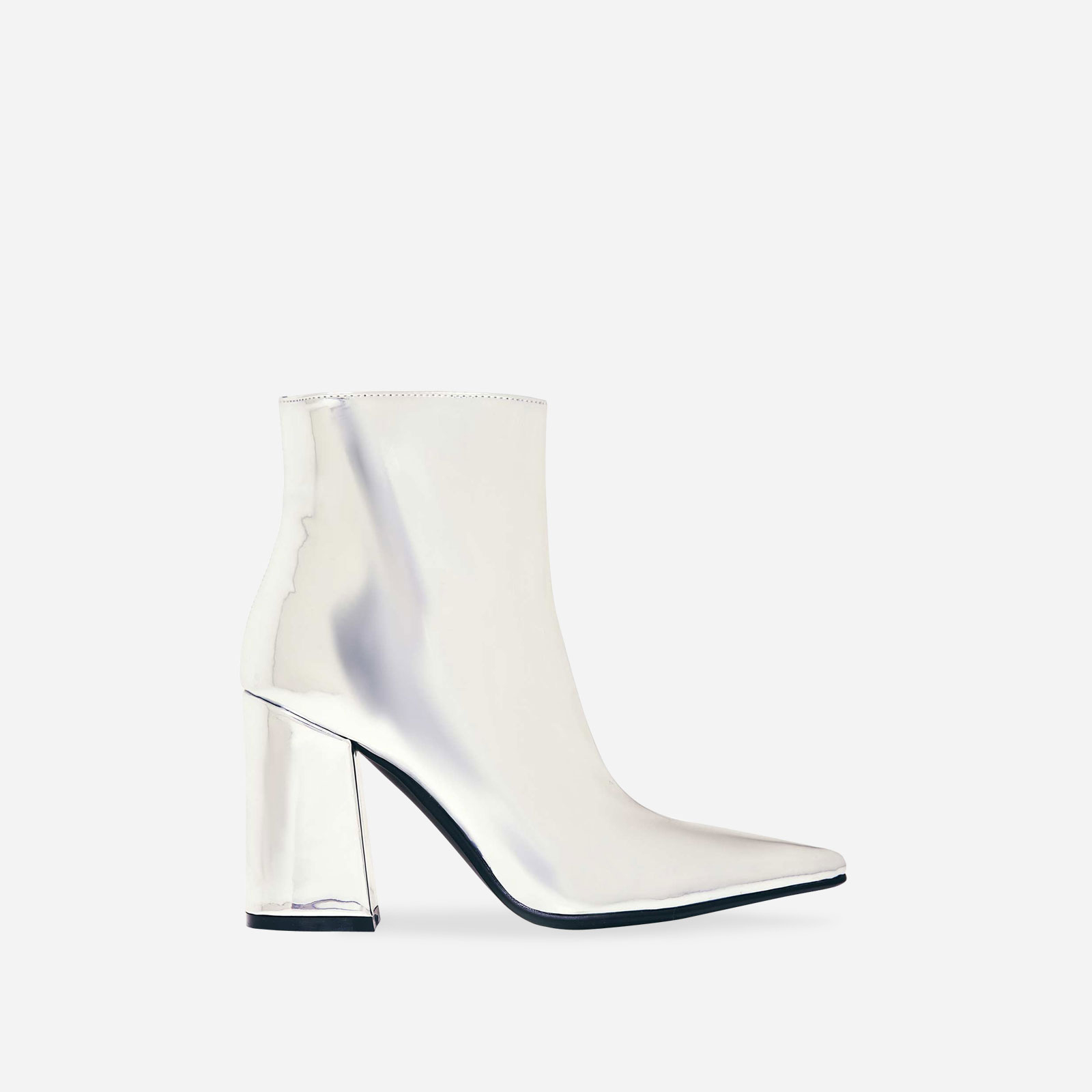 Larna Pointed Toe Ankle Boot In Metallic Silver Faux Leather