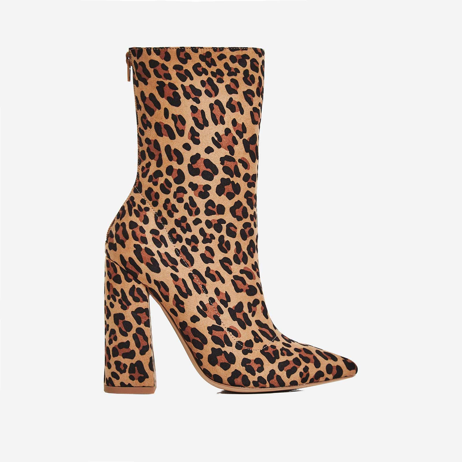 Larsa Block Heel Ankle Boot In Tan Leopard Print Faux Suede