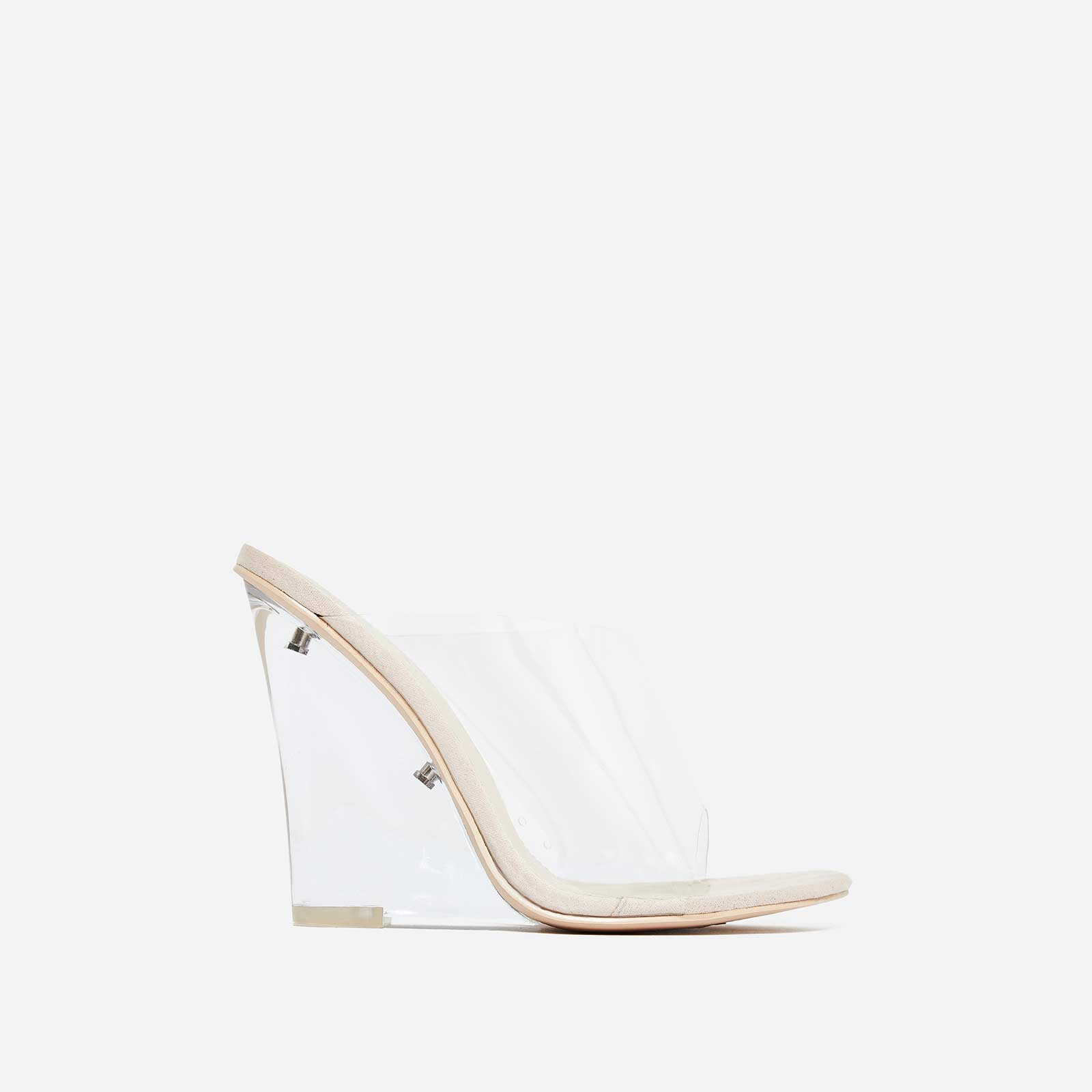 Lemonade Perspex Wedge Mule In Nude Faux Suede